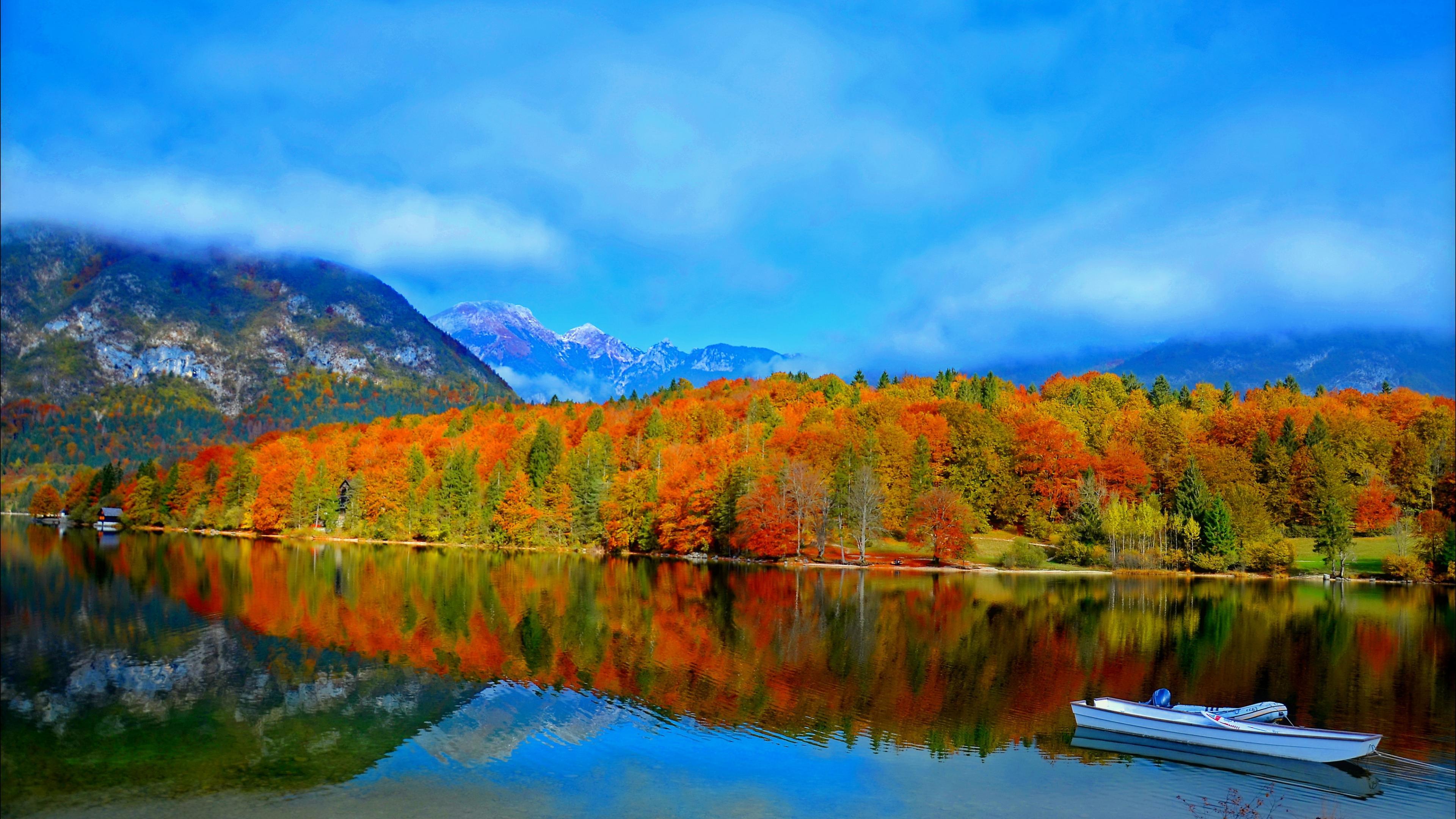 Earth Forest Tree Fall Foliage Mountain Cloud Lake Boat Wallpaper Resolution 3840x2160 Id 526490 Wallha Com