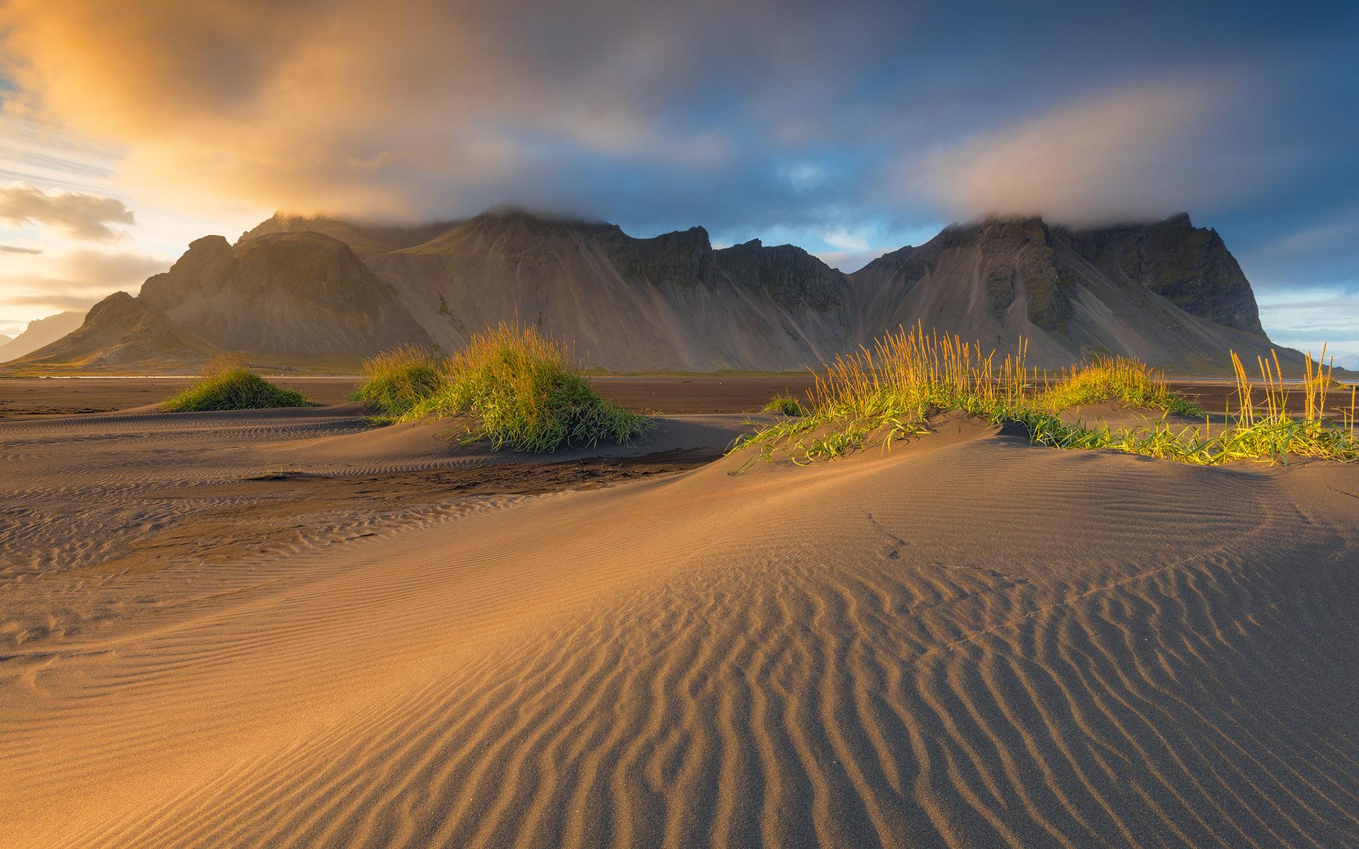 Earth Mountain Rock Cloud Sand Beach 1920x1200