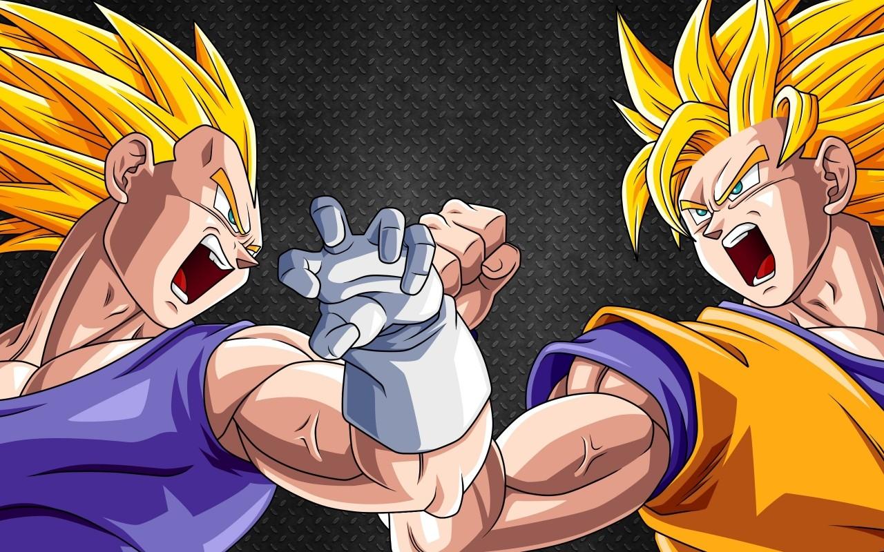 Dragon Ball Z Vegeta Son Goku Super Saiyan Wallpaper Resolution 1280x800 Id 593795 Wallha Com