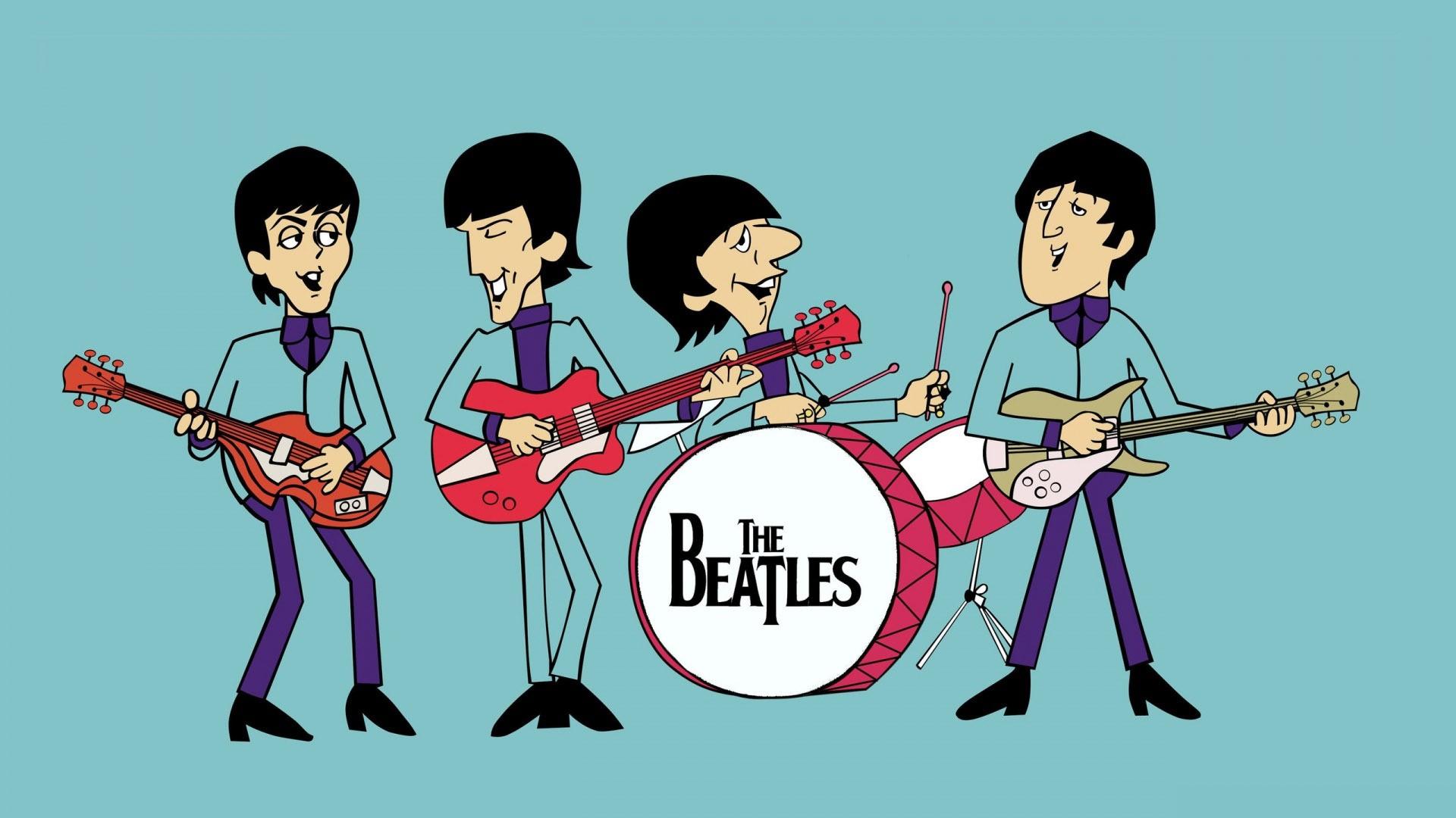 Musician Singer The Beatles Cartoon Blue Background Guitar Drums John Lennon Paul Mccartney George H Wallpaper Resolution 1920x1080 Id 586976 Wallha Com