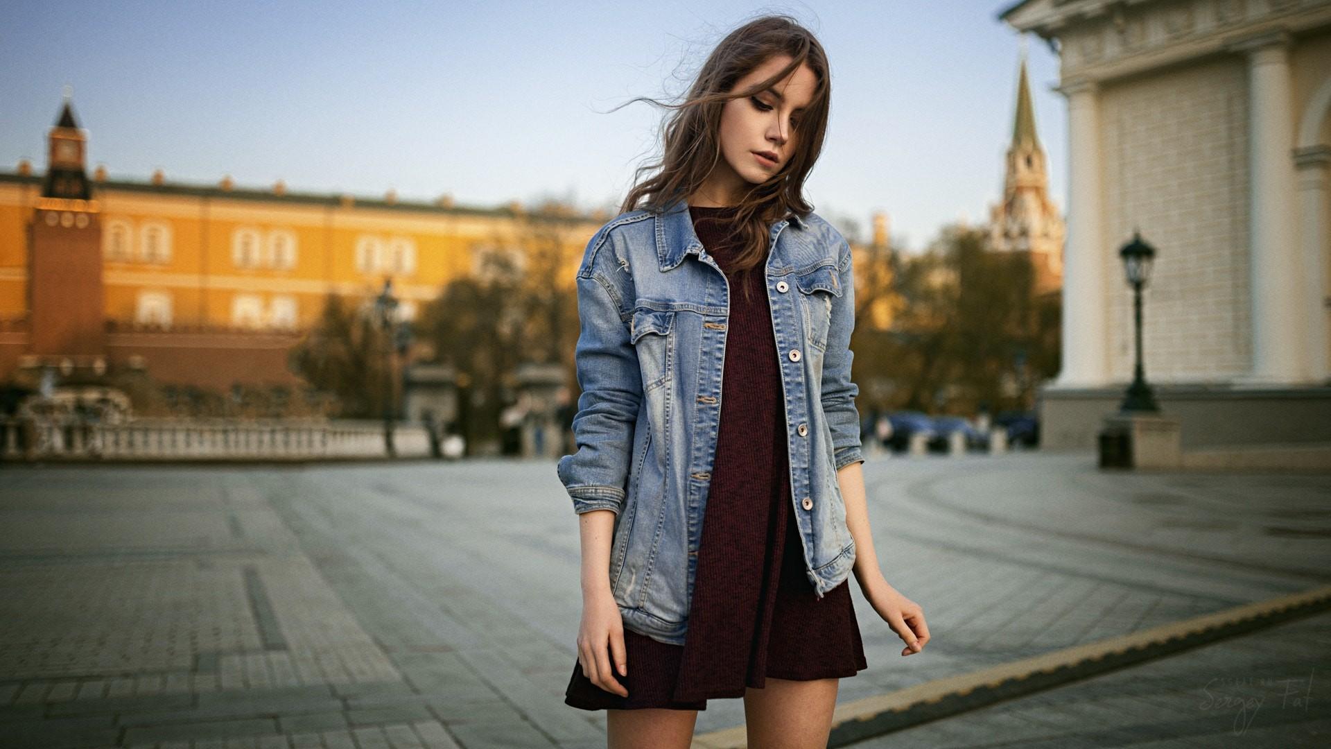Ksenia Kokoreva Women Sergey Fat Dress Portrait Women Outdoors Jeans Jacket Hair In Face Jeans 1920x1080