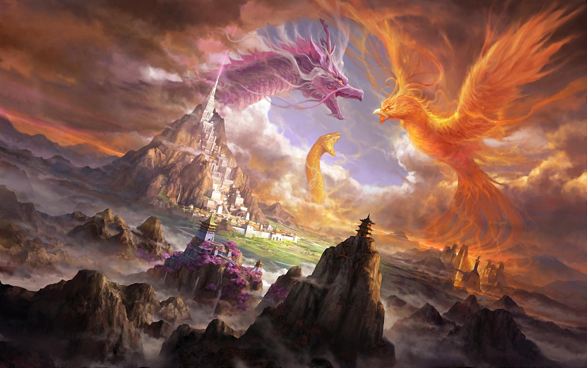 Dragon Snake Bird City Battle Artistic Fantasy Castle Phoenix 1920x1205