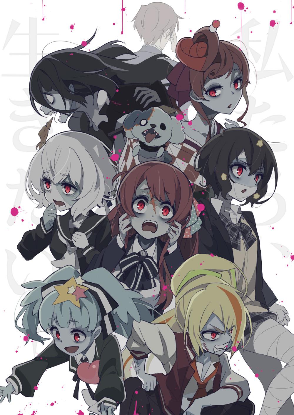 Zombieland Saga Anime Girls Redhead Ribbon School Uniform Zombie 4 Junko Konno Zombie 0 Tae Yamada Z 1000x1411