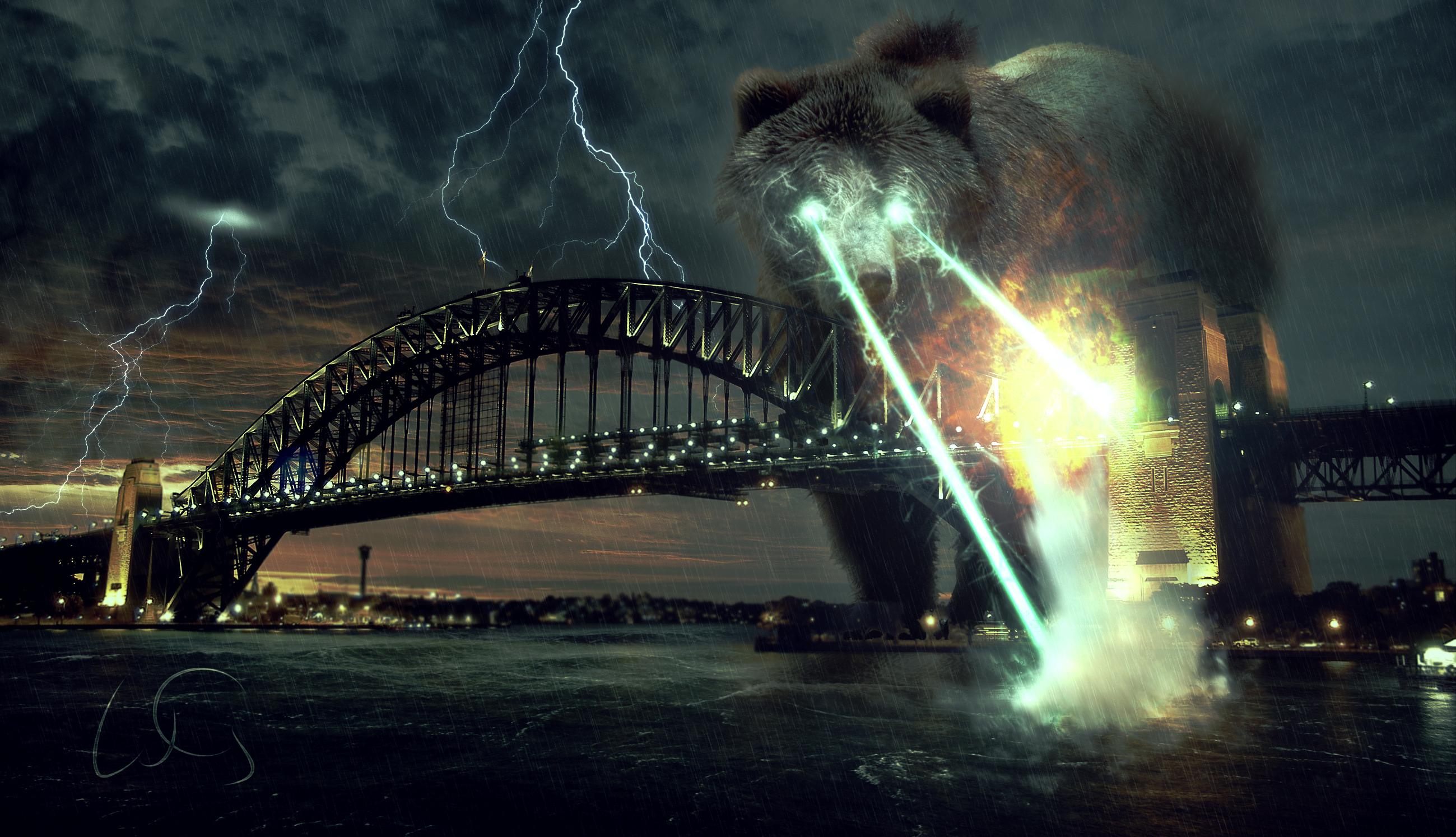 Explosion Bear Animal Sydney Harbor Apocalypse Sydney Harbour Bridge Laser 2599x1494