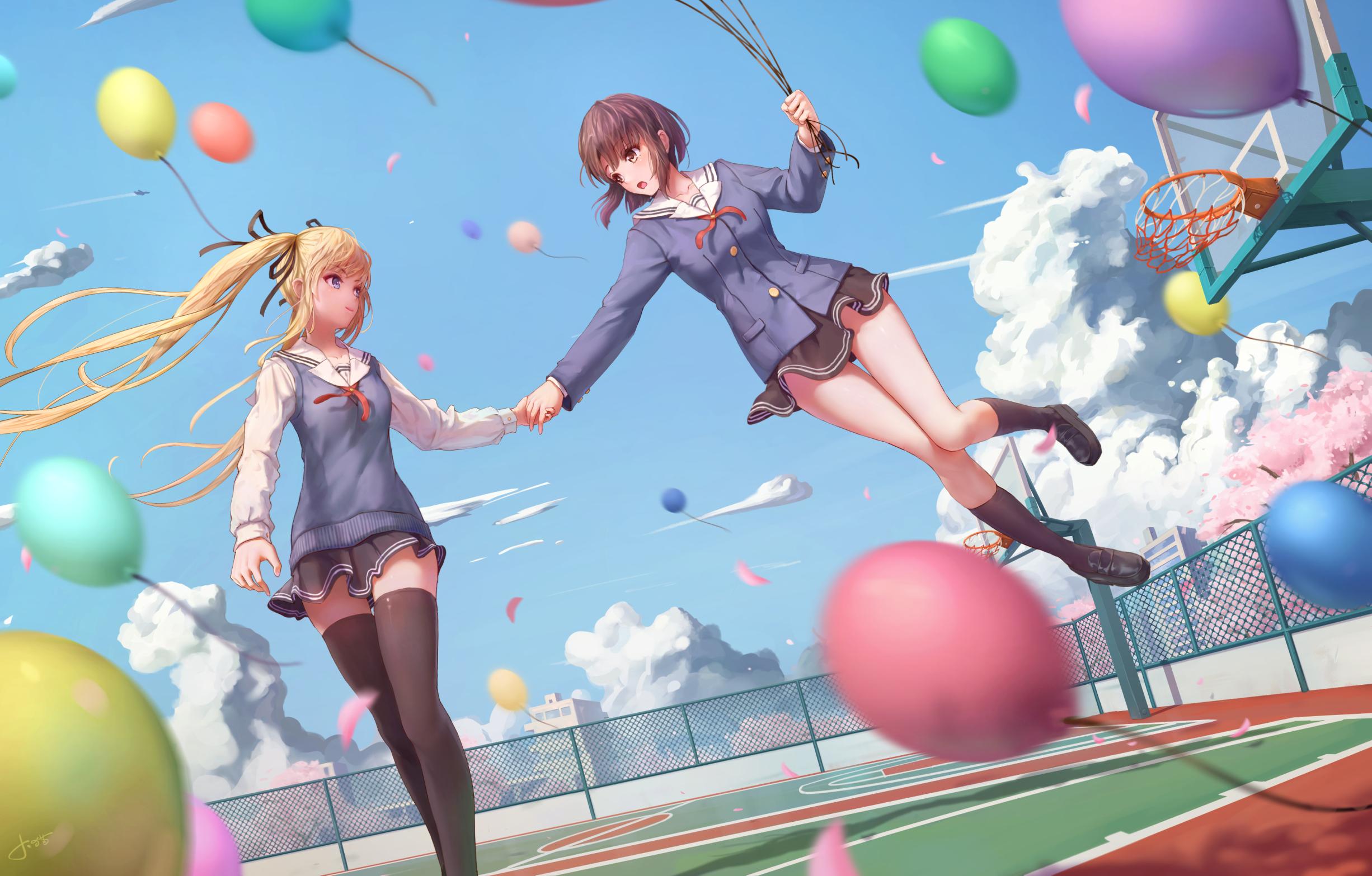 Saenai Heroine No Sodatekata Anime Girls Sawamura Eriri Spencer Katou Megumi Thigh Highs Jay Xu 2452x1567