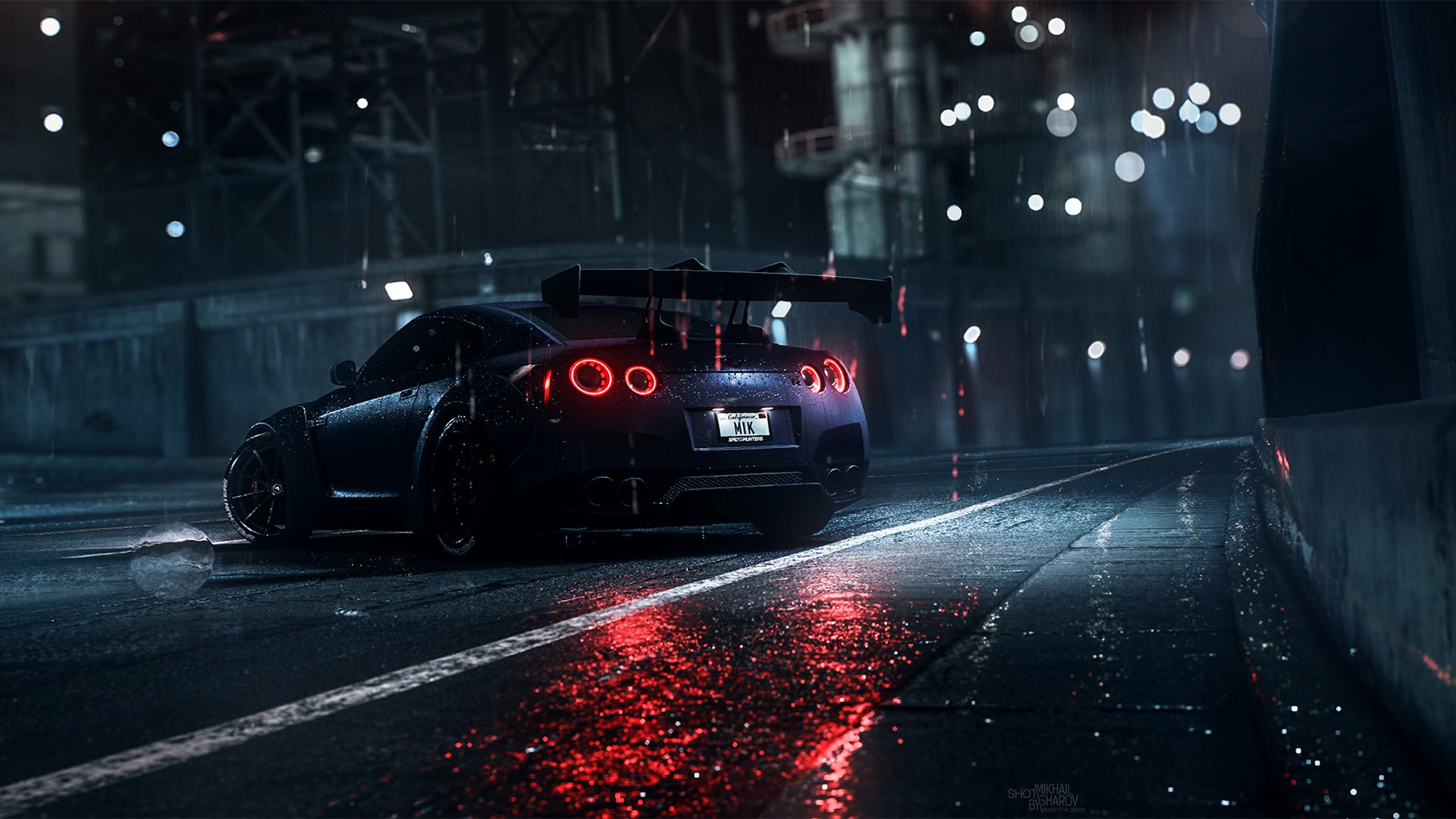Dark Night Rain Car Nissan Nissan GT R Need For Speed Need For Speed 2016 1920x1080