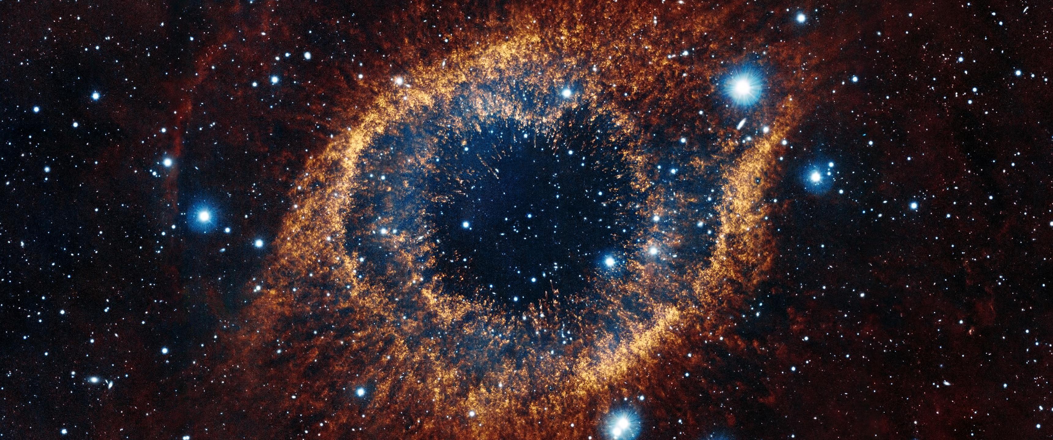 Space Nebula Helix Nebula Space Art Stars 3440x1440