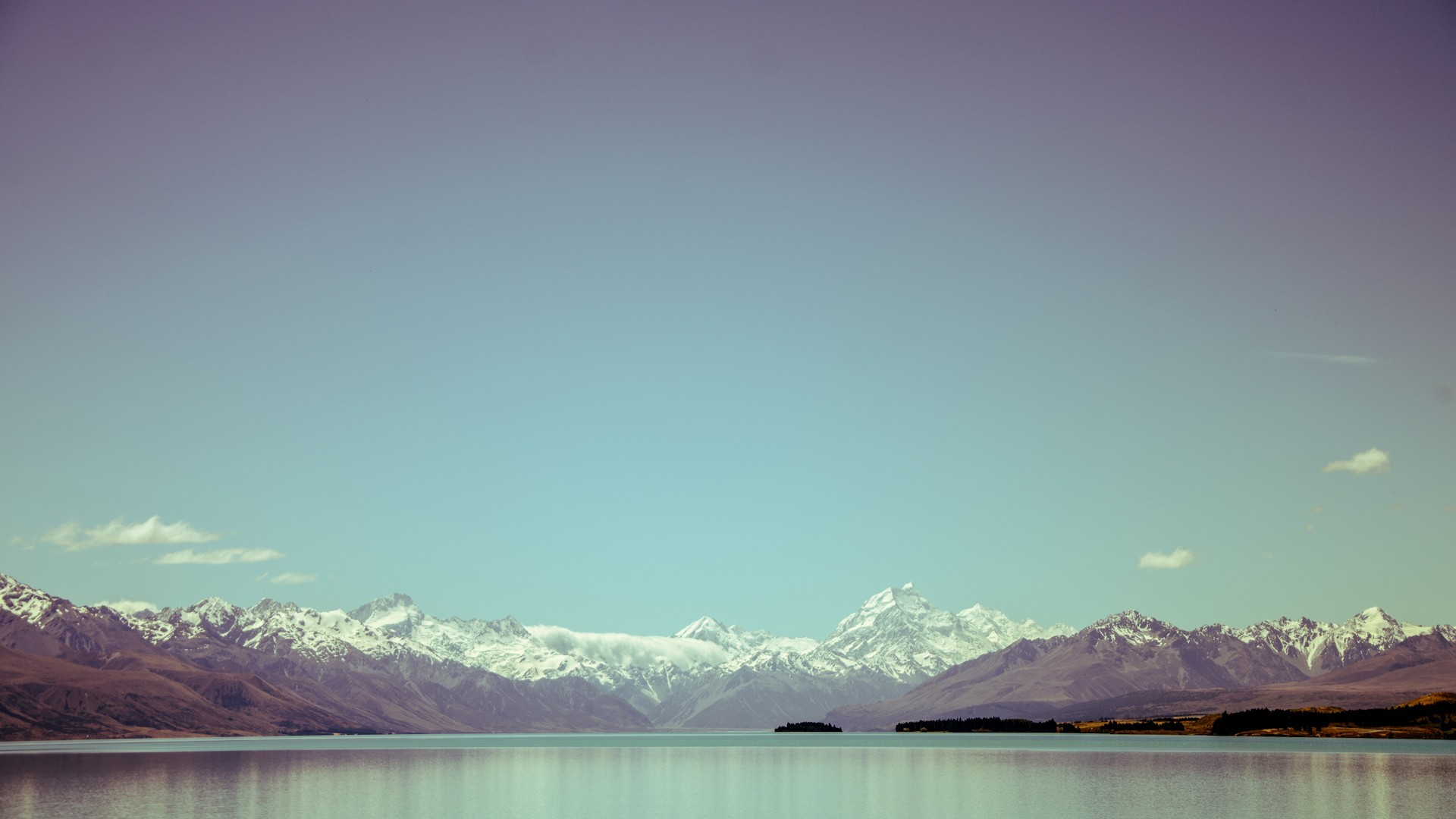 Mountains Lake Alps Snow Water Clear Sky 1920x1080