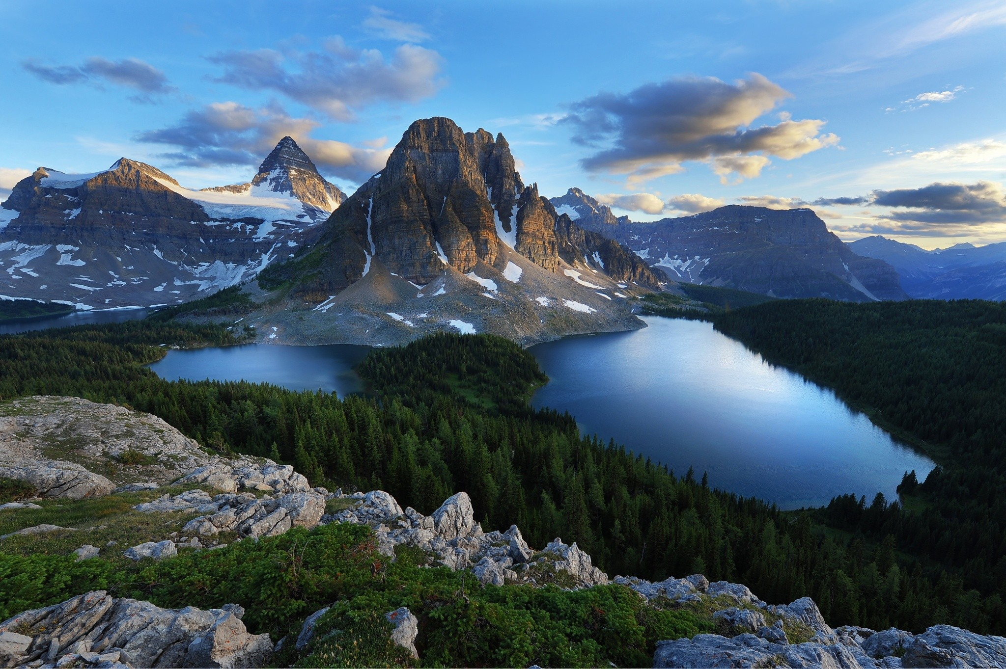 Forest Mountains Snow Morning Summer British Columbia Nature Landscape Lake Banff National Park 2048x1363