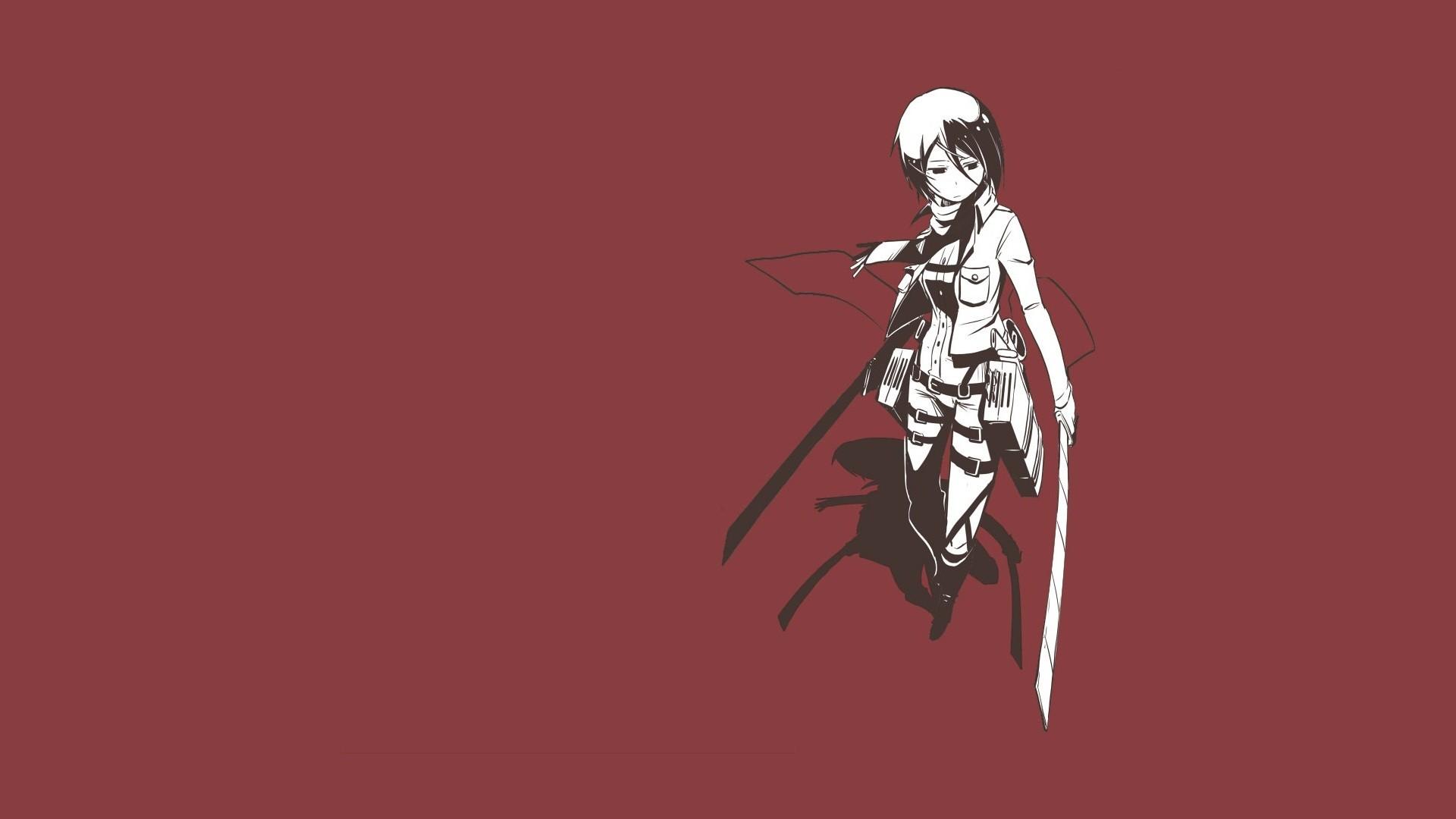 Shingeki No Kyojin Mikasa Ackerman Red Simple Background Minimalism Simple Wallpaper Resolution 1920x1080 Id 645226 Wallha Com