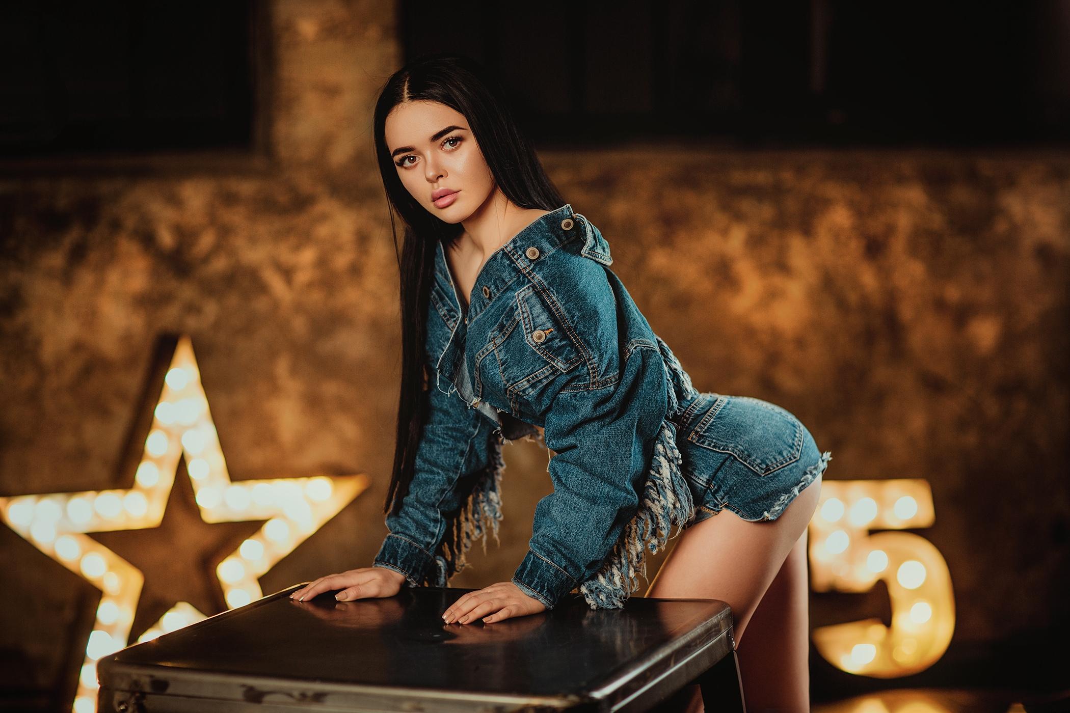 Alina Bosh Women Model Black Hair Long Hair Looking At Viewer Jeans Jacket Denim Jeans Dark Hair Jac 2100x1400