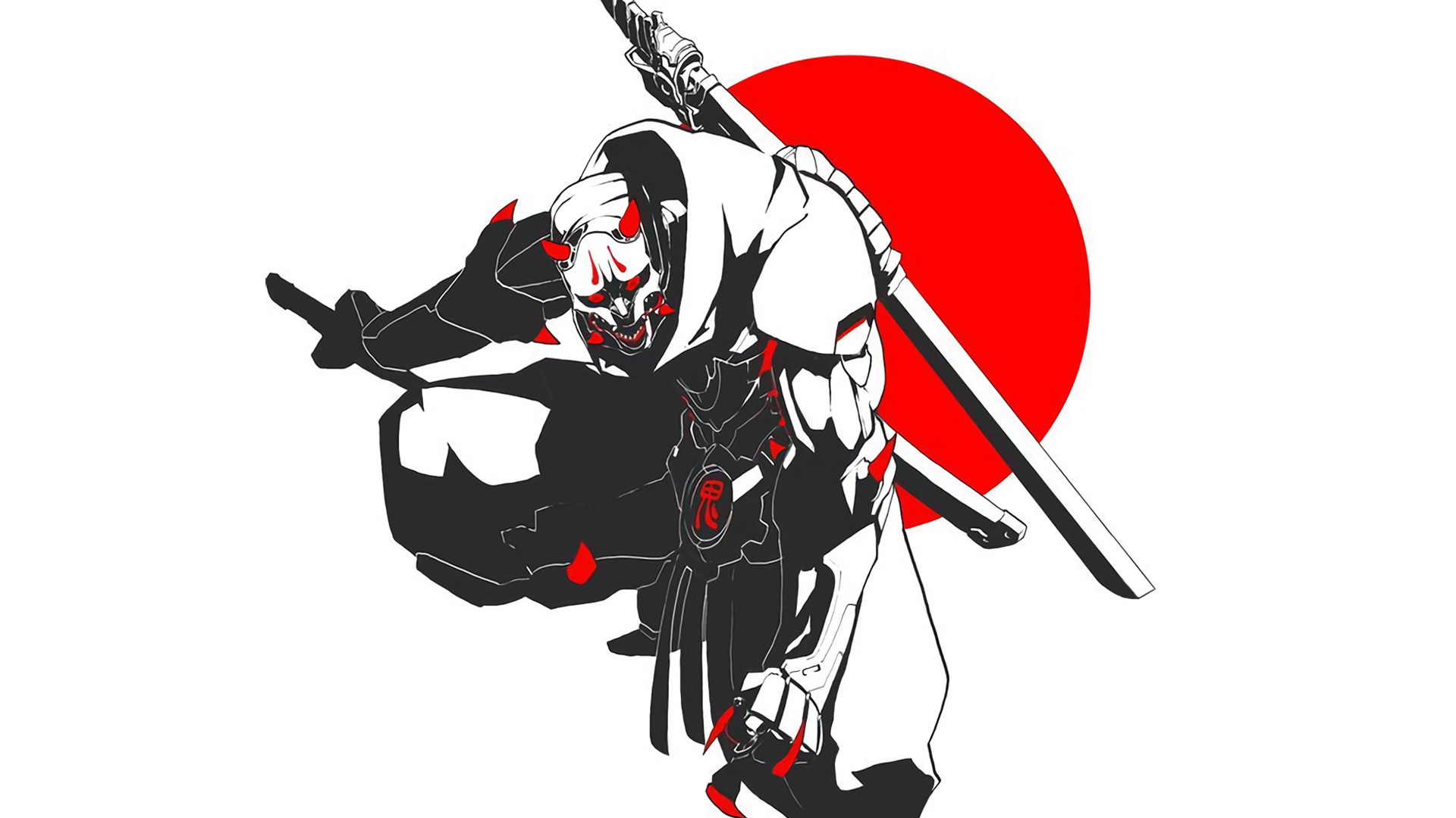 Anime Manga Japan Samurai Ninja Katana Oni Simple Background Shinobi Oni Mask Genji Overwatch Wallpaper Resolution 1920x1080 Id 695068 Wallha Com