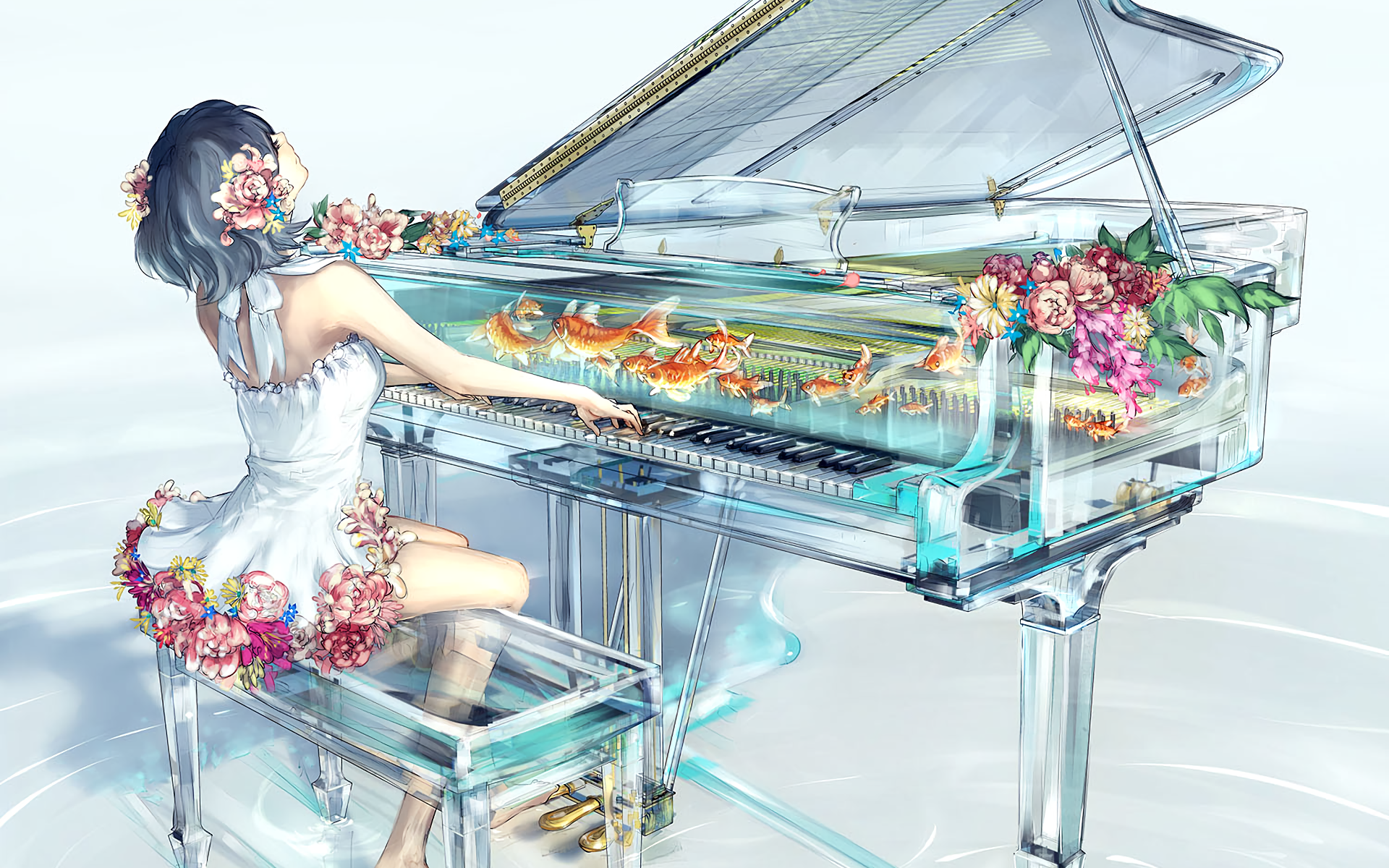 Fish Piano Girl Dress Flower Short Hair 1920x1200