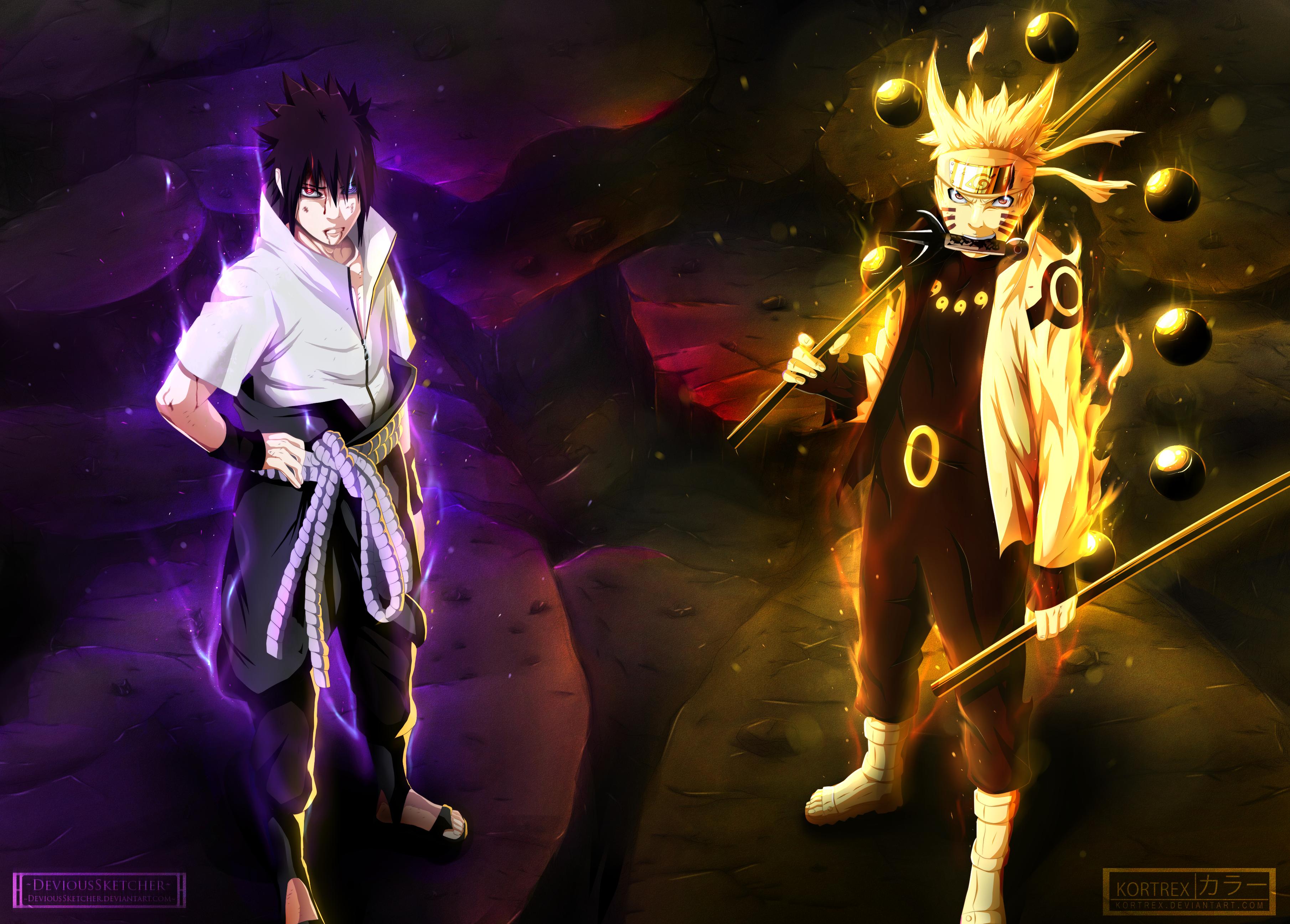 Naruto Naruto Uzumaki Sasuke Uchiha 3620x2594