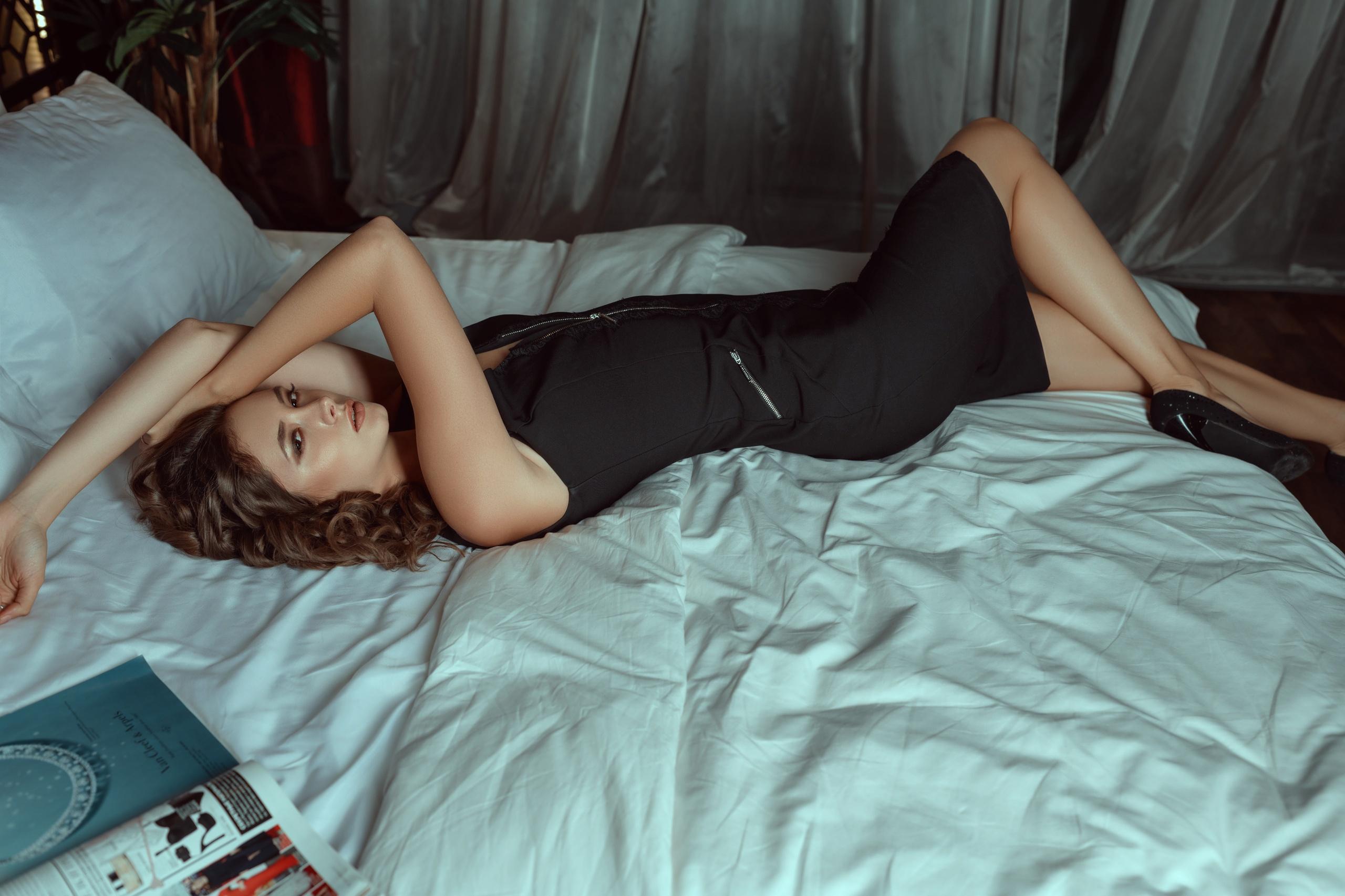 Sergei Vasiliev Model Women Brunette Wavy Hair Dark Eyes Dress Black Dress High Heels Legs Bare Shou 2560x1706