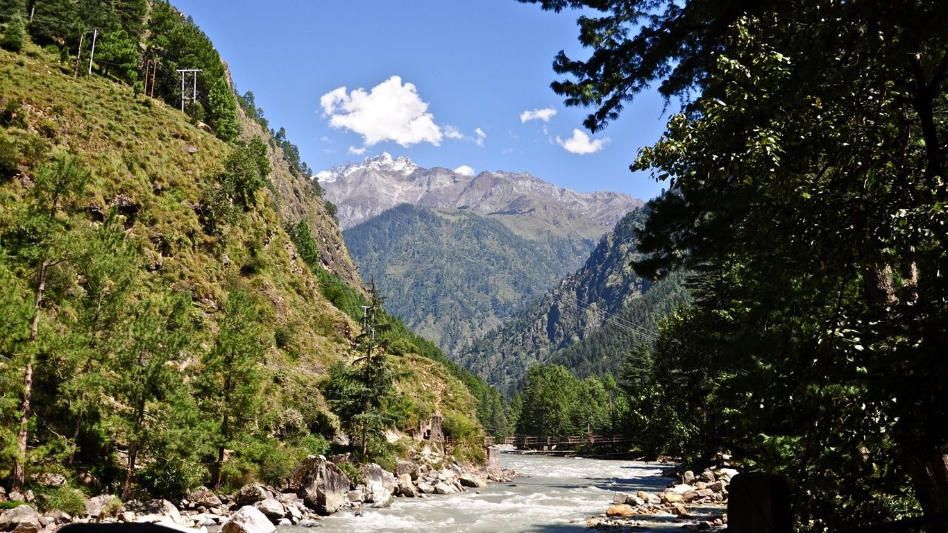 Mountains Nature River Trees Green 1366x768