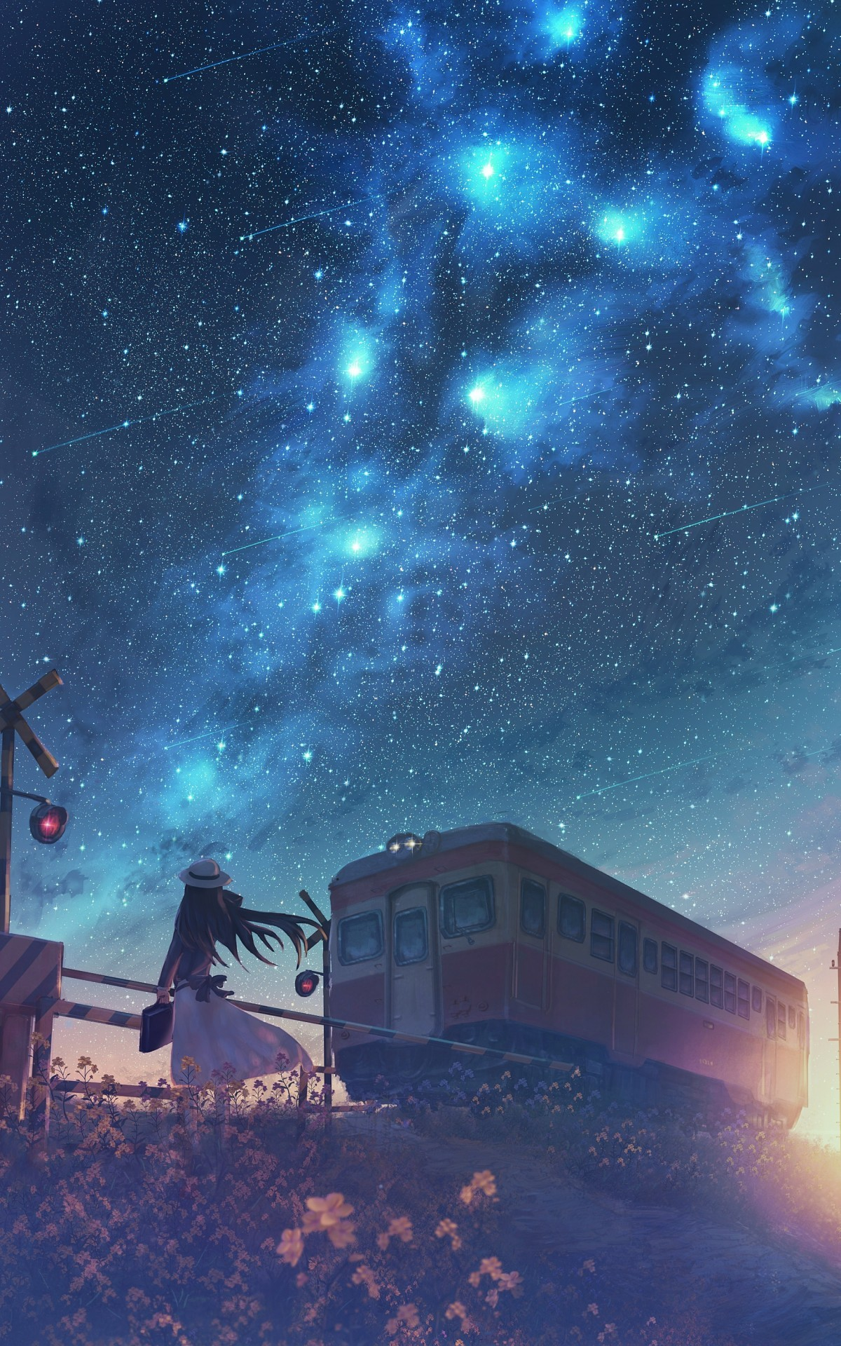 Anime Anime Girls Original Characters Starry Night Railway Crossing Emotion Stars Night 1200x1920