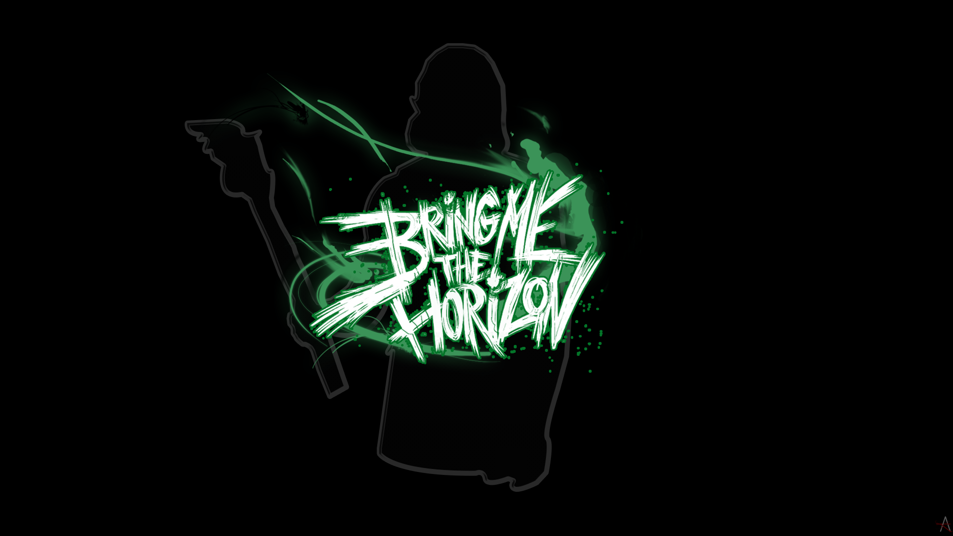 Bring Me The Horizon Metalcore Simple Background Black Background Green 1920x1080