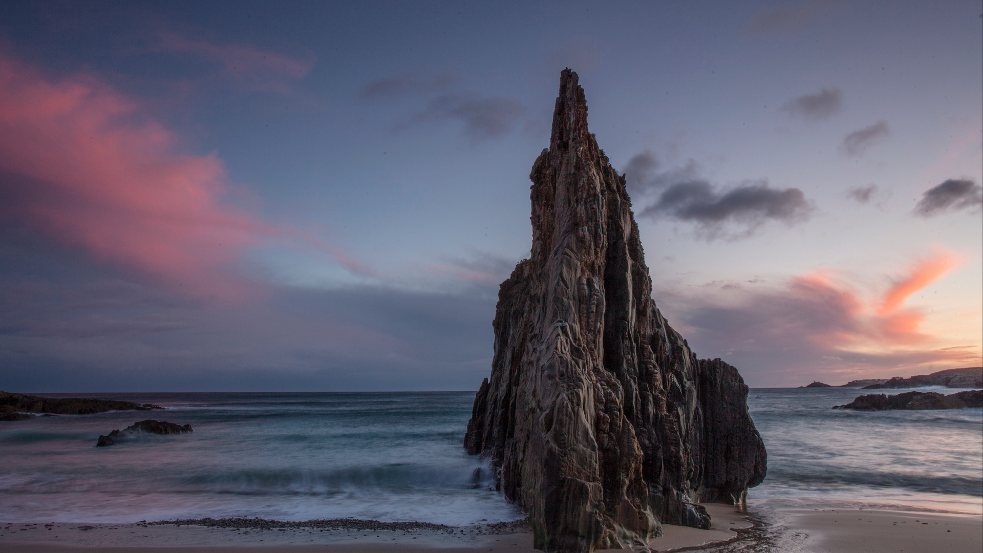 Cliff Shore Sea Waves Sky Clouds Beach 1920x1080