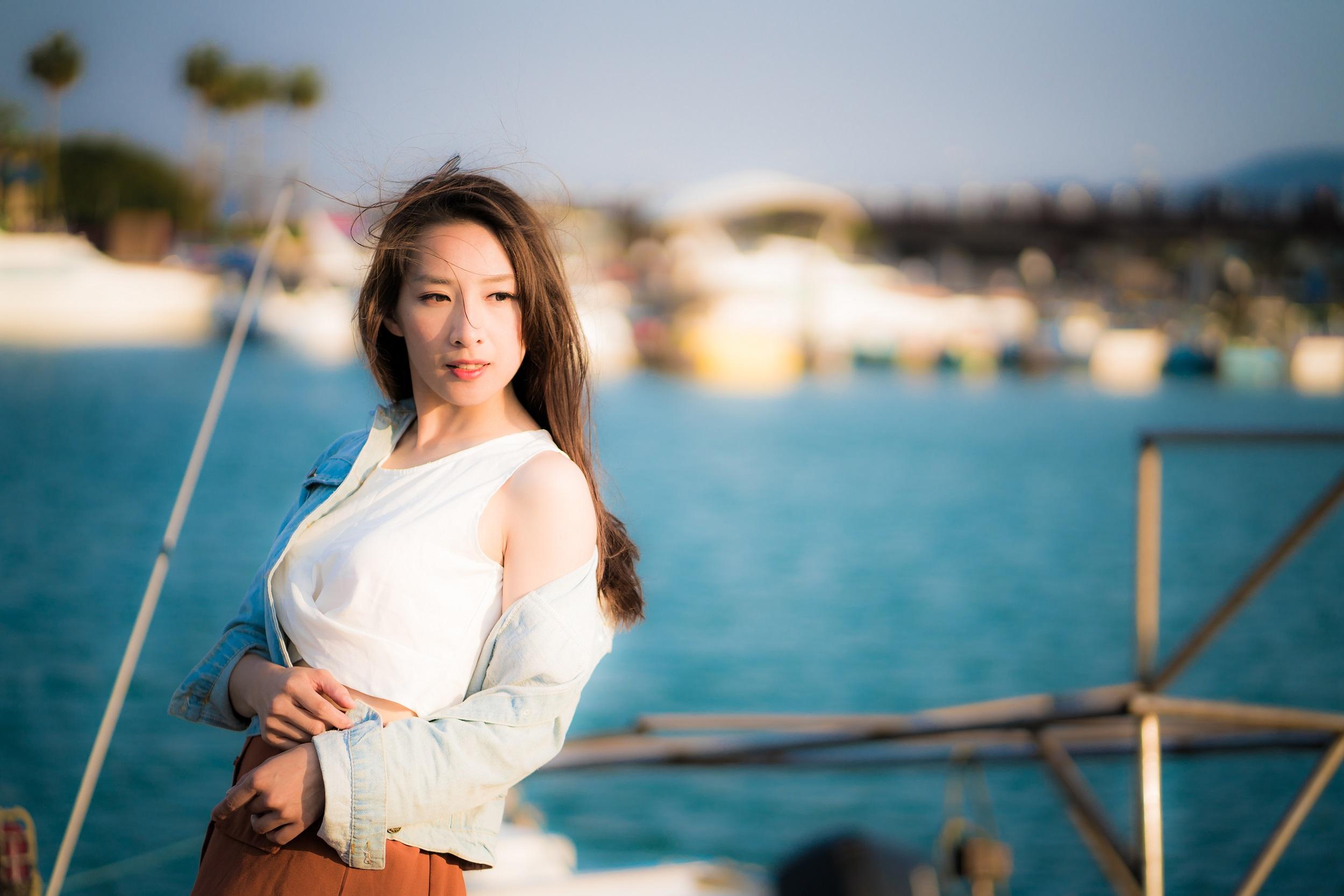 Women Model Asian White Tops Jeans Jacket Looking Away Brunette Women Outdoors Depth Of Field 2500x1667