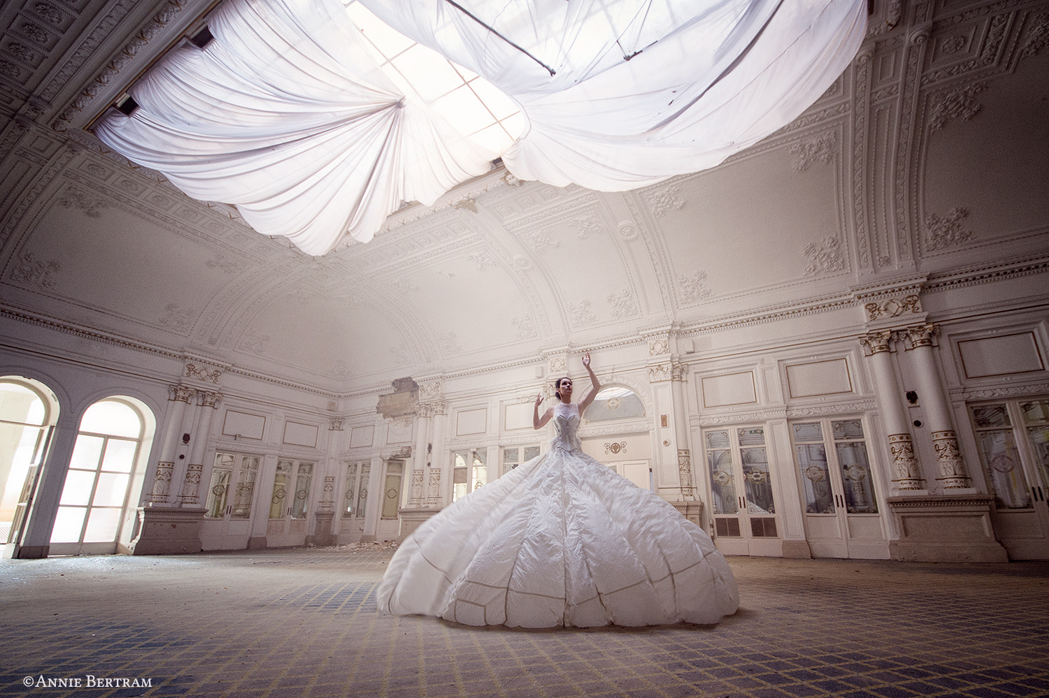 Ballroom White Dress Building Women Model Annie Bertram 500px 1500x999