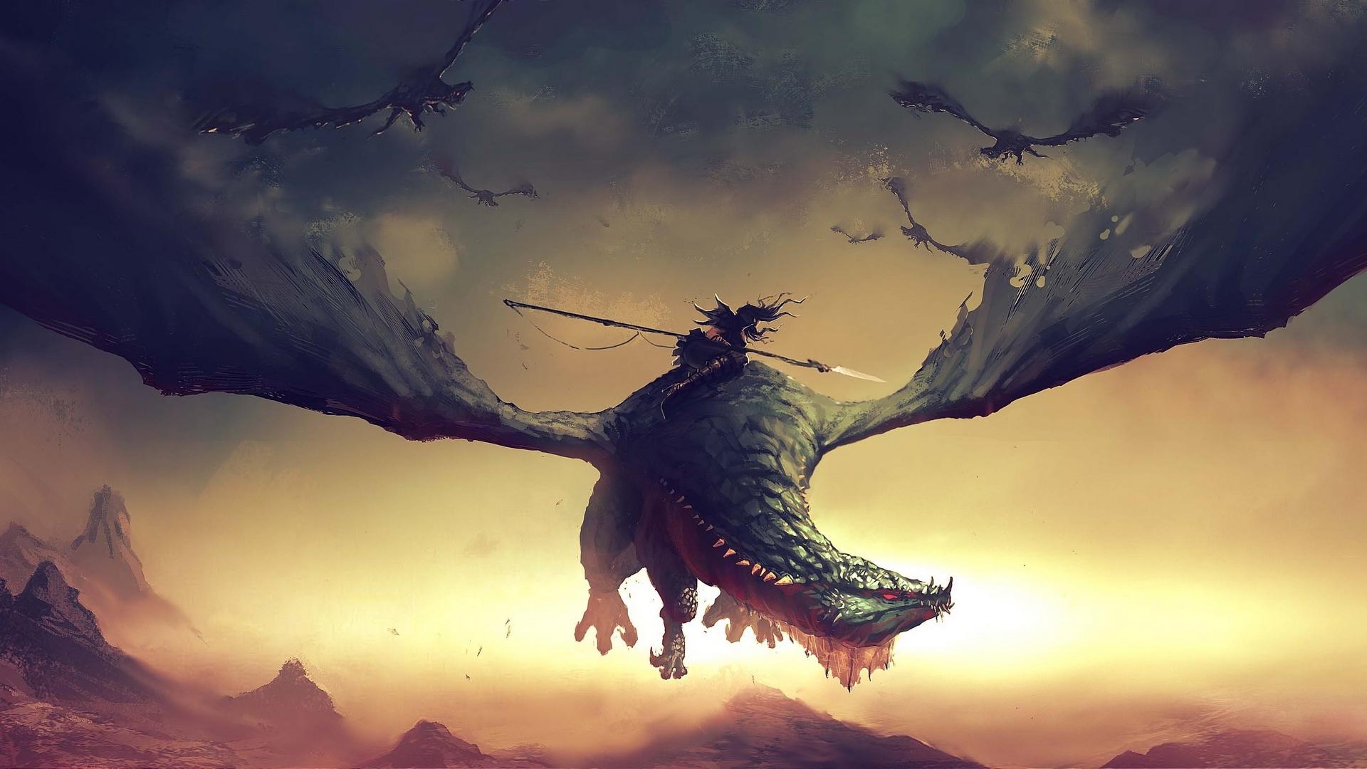 Dragon Woman Warrior Spear 1920x1080