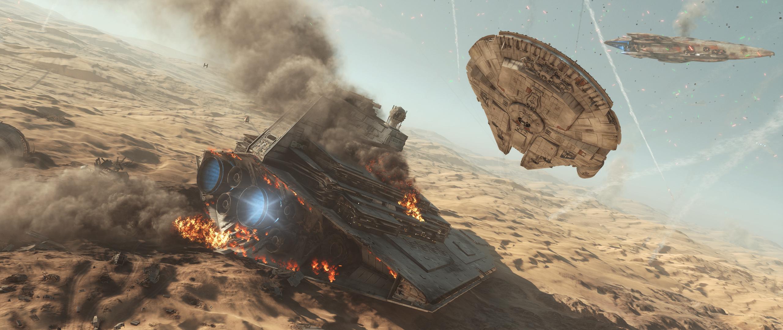 Star Wars Battlefront 2015 Millennium Falcon Wallpaper Resolution 2560x1080 Id 754980 Wallha Com