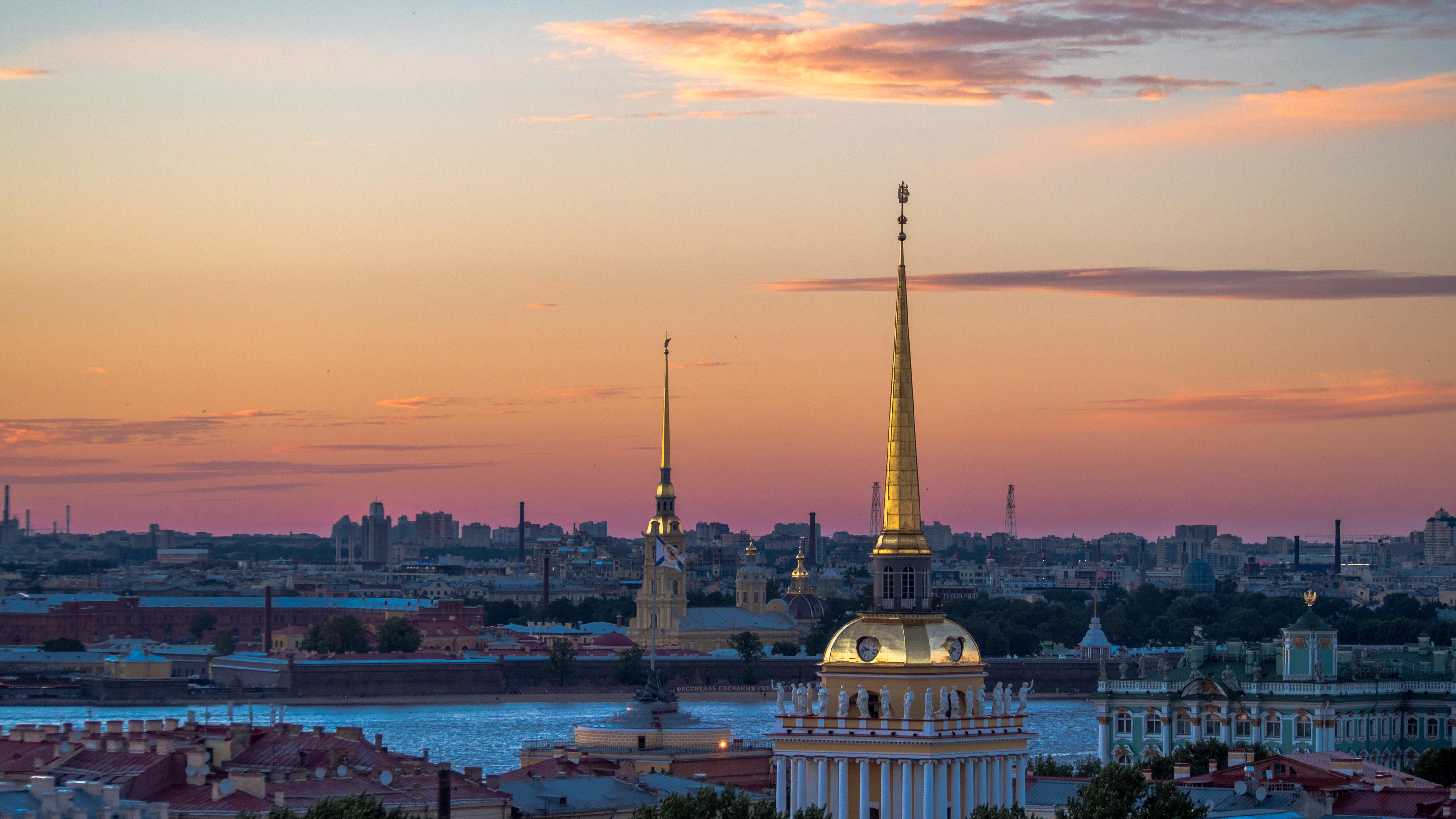 Architecture River Russia Saint Petersburg Sky Sunset 4595x2585