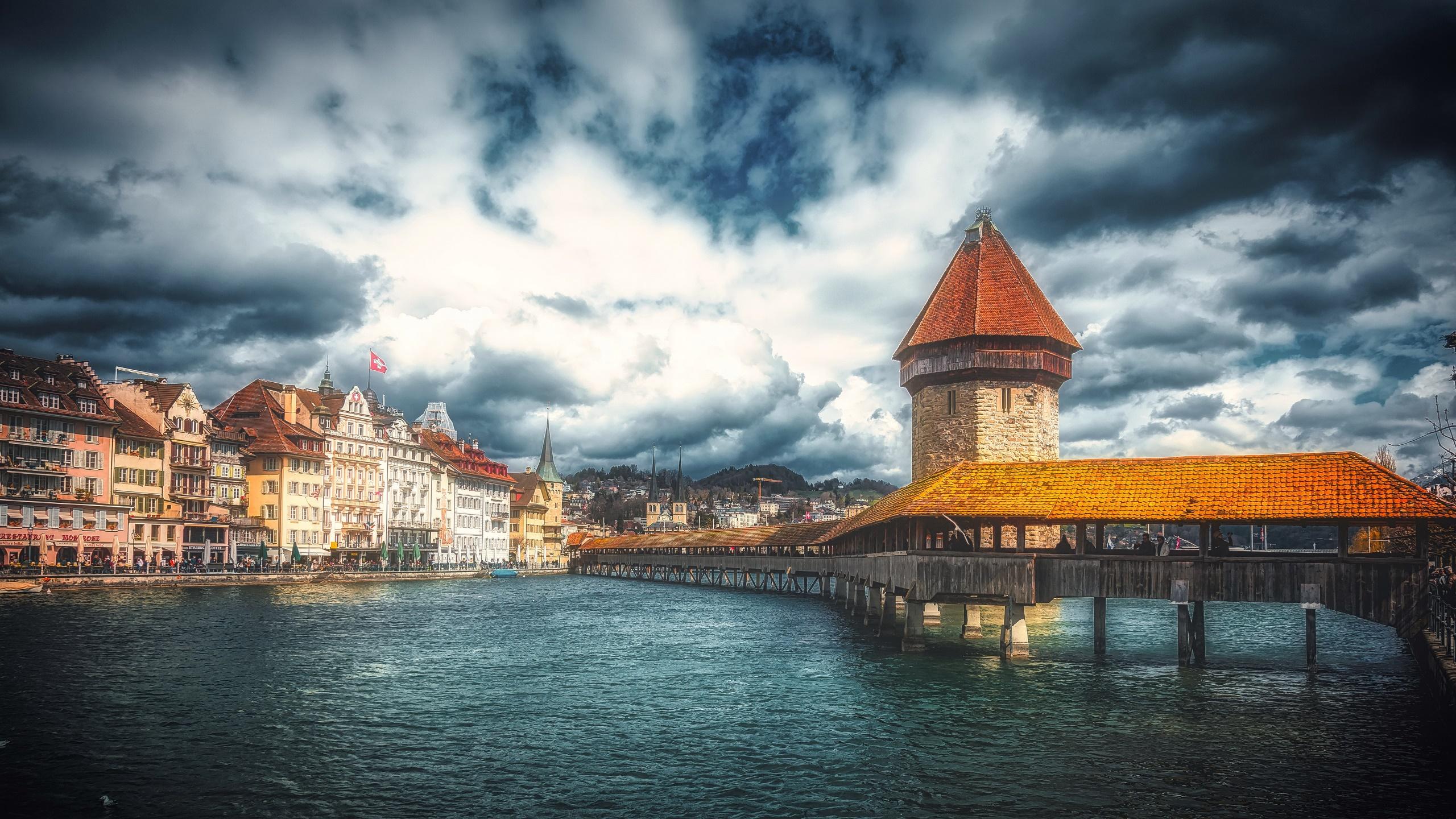Switzerland Luzern Water City Sky 2560x1440