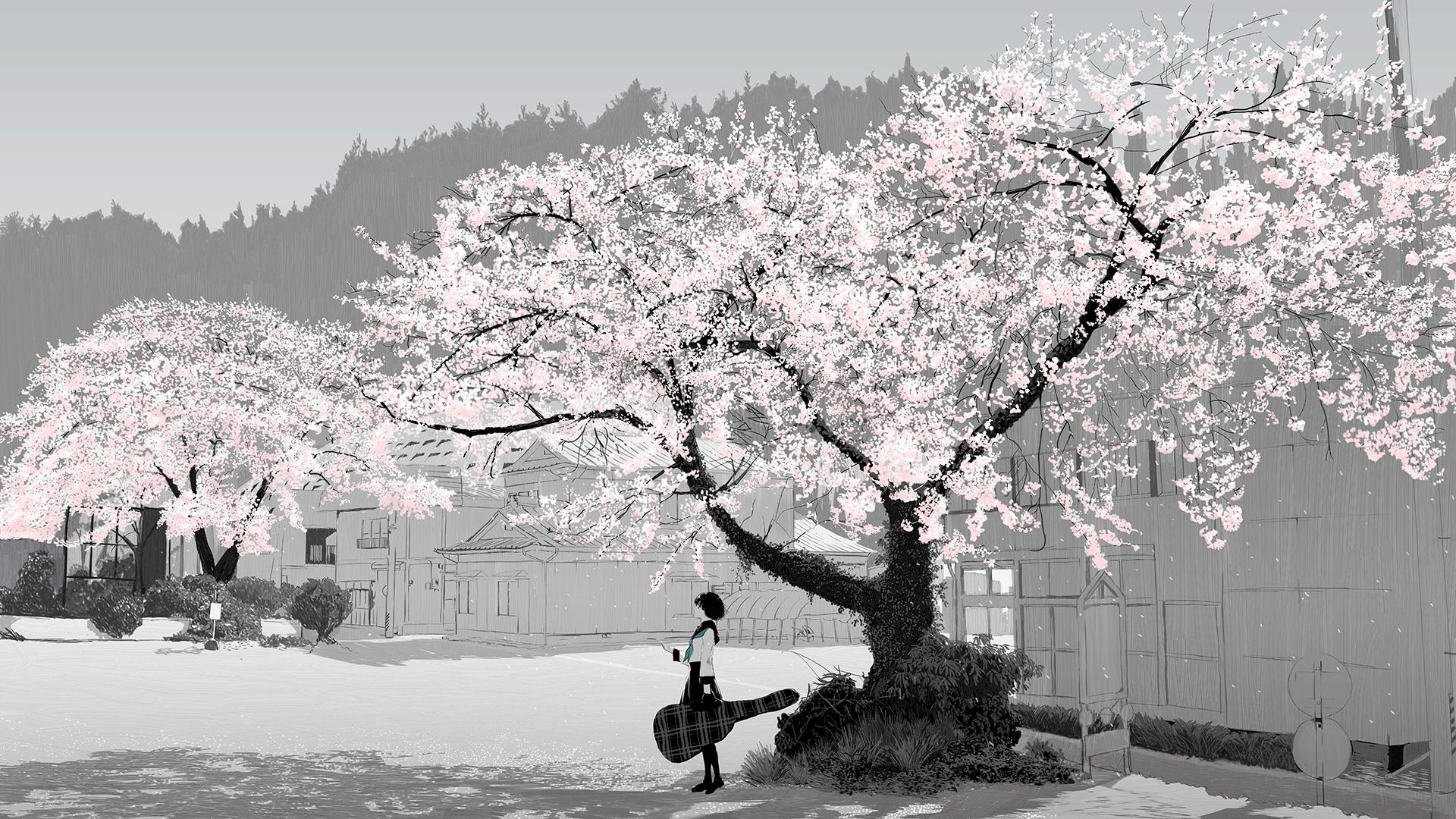 Original Anime Tree Sakura Blossom Guitar School Uniform Skirt Short Hair Girl Black Hair 1920x1080