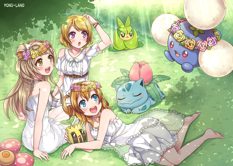 Pokemon Love Live Hanayo Koizumi Honoka Kousaka Kotori Minami Bulbasaur Pokemon Jumpluff Pokemon Sun 1500x1066
