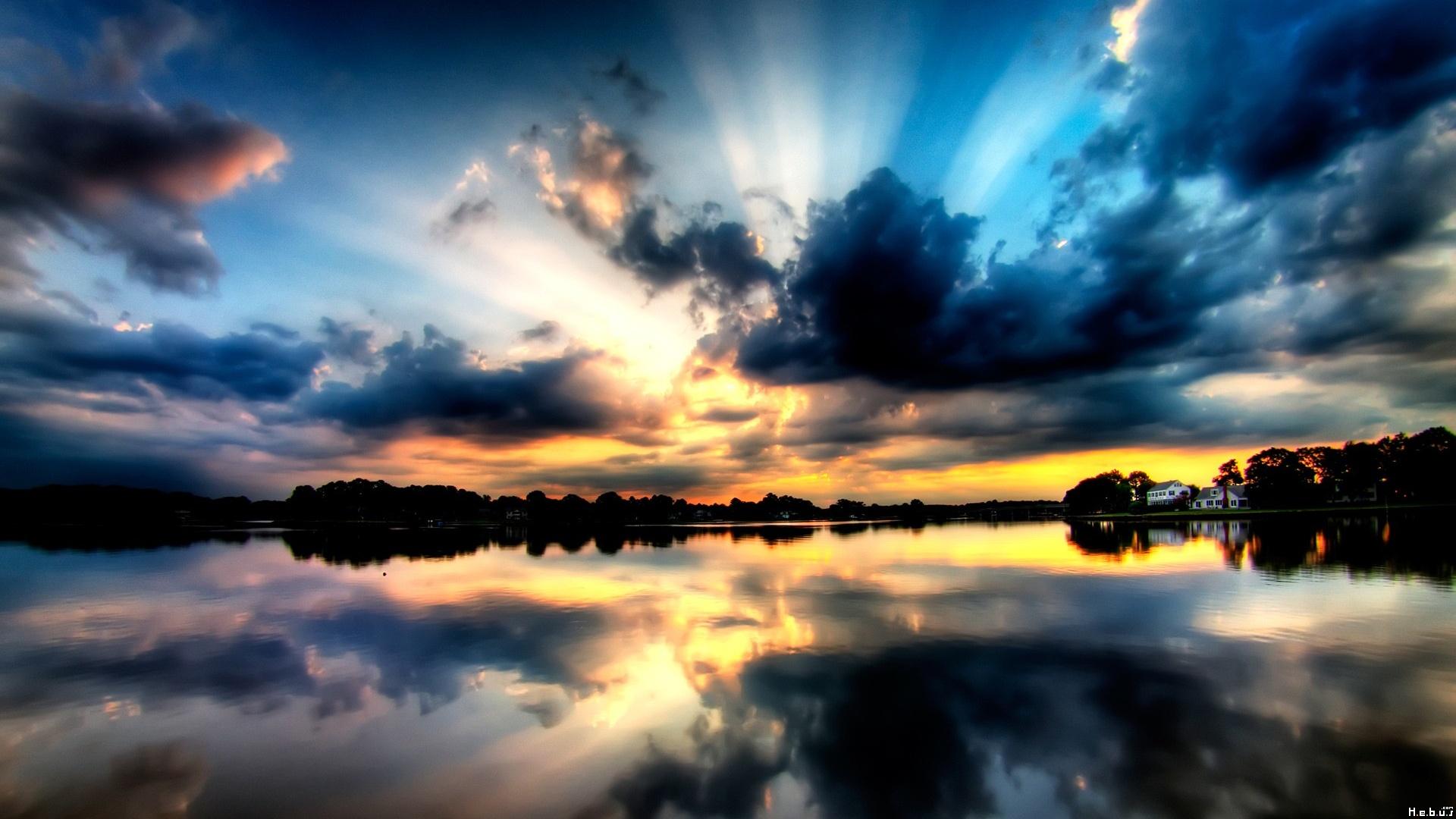 Sunset Lake Sky Cloud Reflection Water Tree House 1920x1080