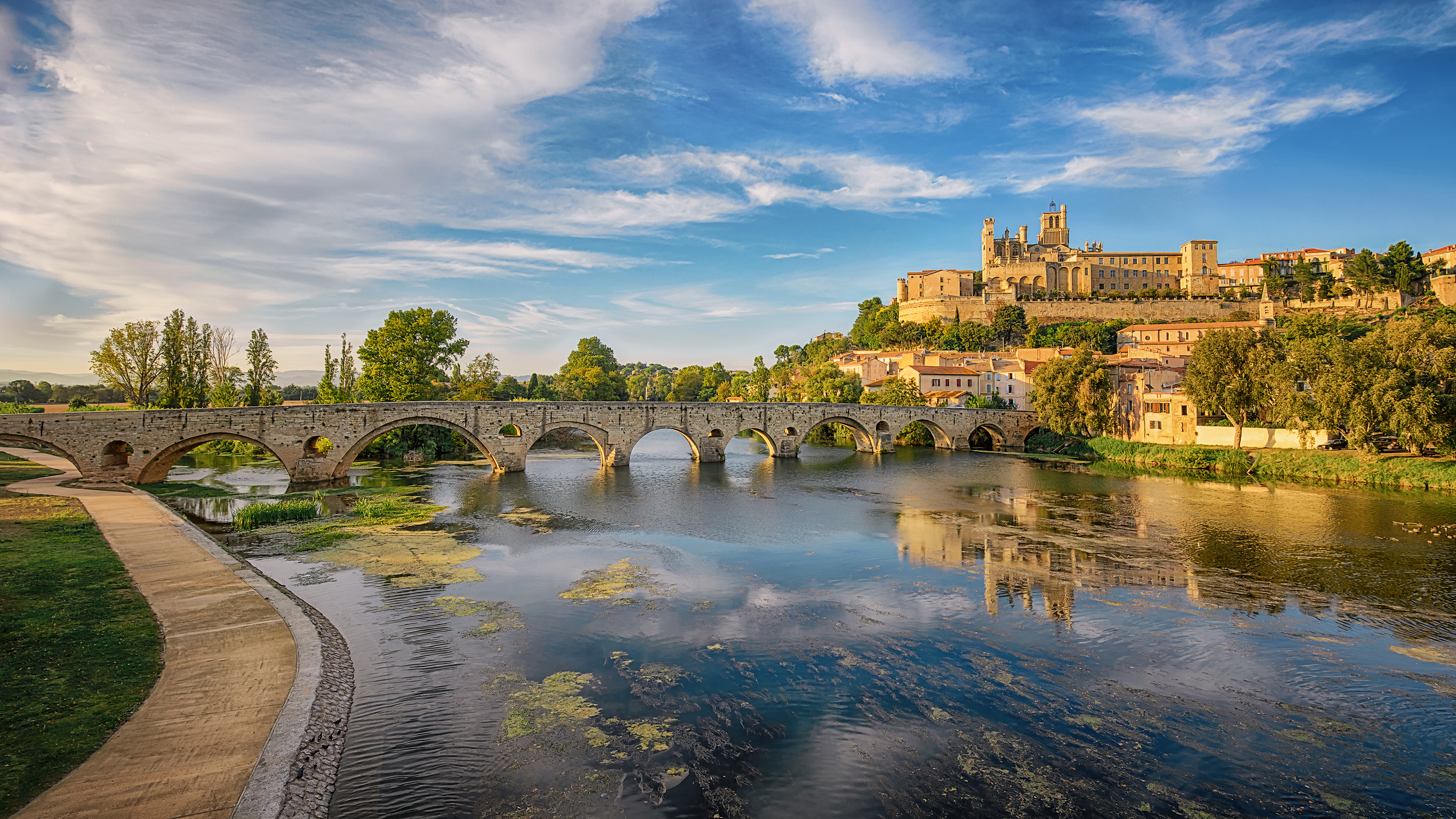 France River Bridge Beziers Town Reflection 3555x2000