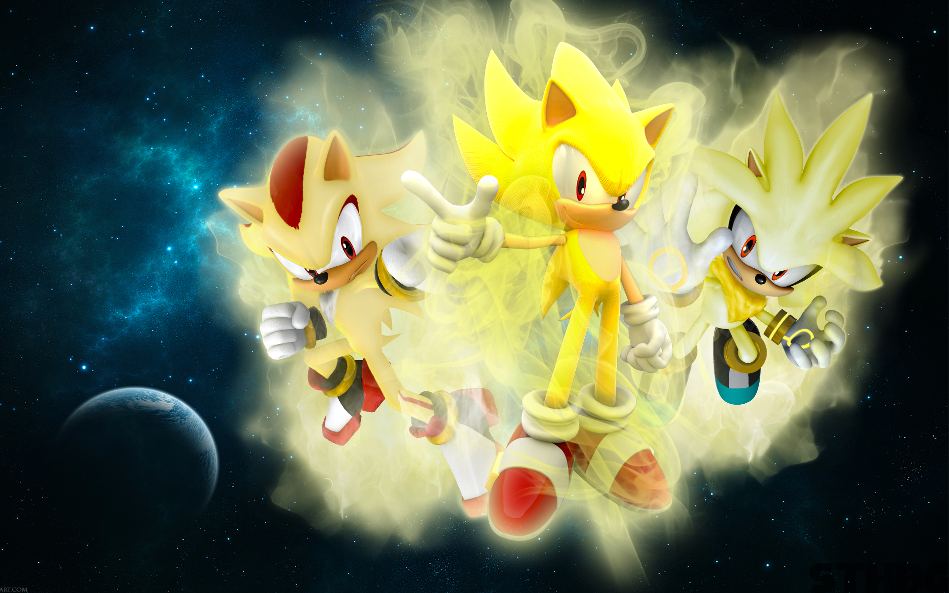 Super Sonic Super Silver Super Shadow 1920x1200
