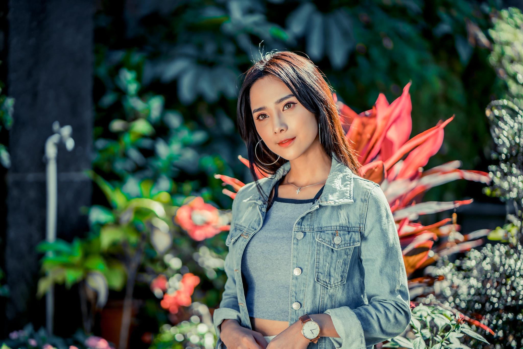 Asian Women Model Long Hair Brunette Depth Of Field Flowers Jeans Jacket Wristwatch Faucets 2048x1366