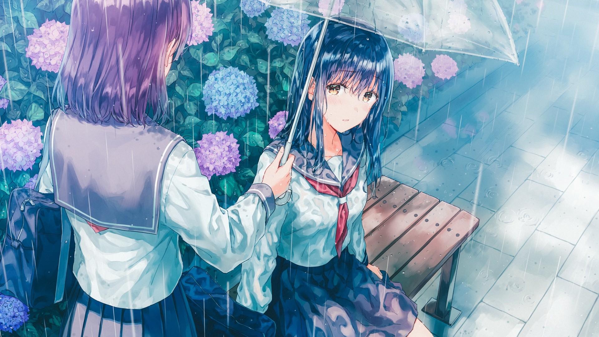 Umbrella Anime Girls Bench Black Hair Hydrangea Rain Anime Wallpaper Resolution 1920x1080 Id 702880 Wallha Com