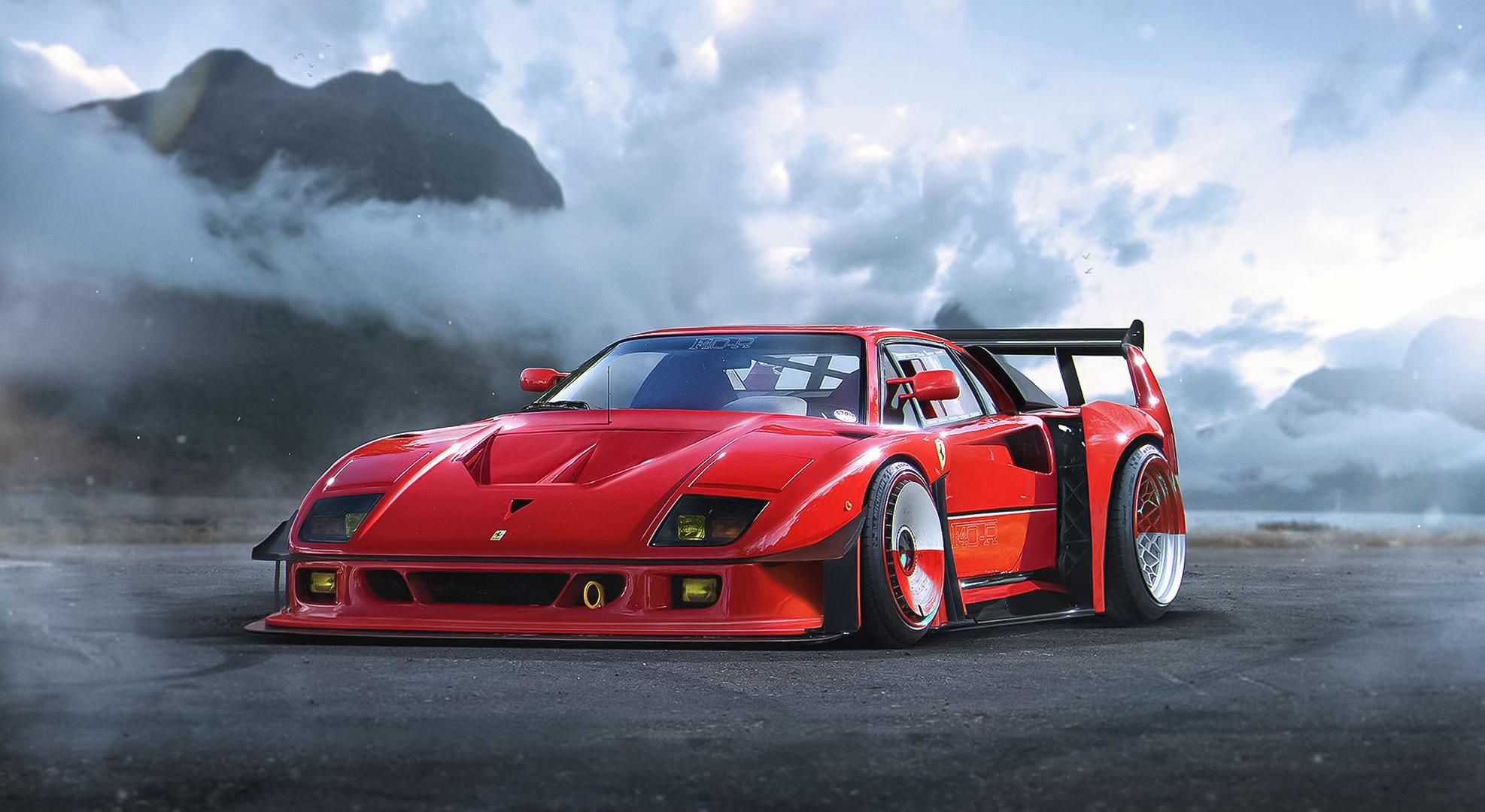 Ferrari F40 Ferrari Supercar Sport Car Red Car Car Vehicle 1974x1080