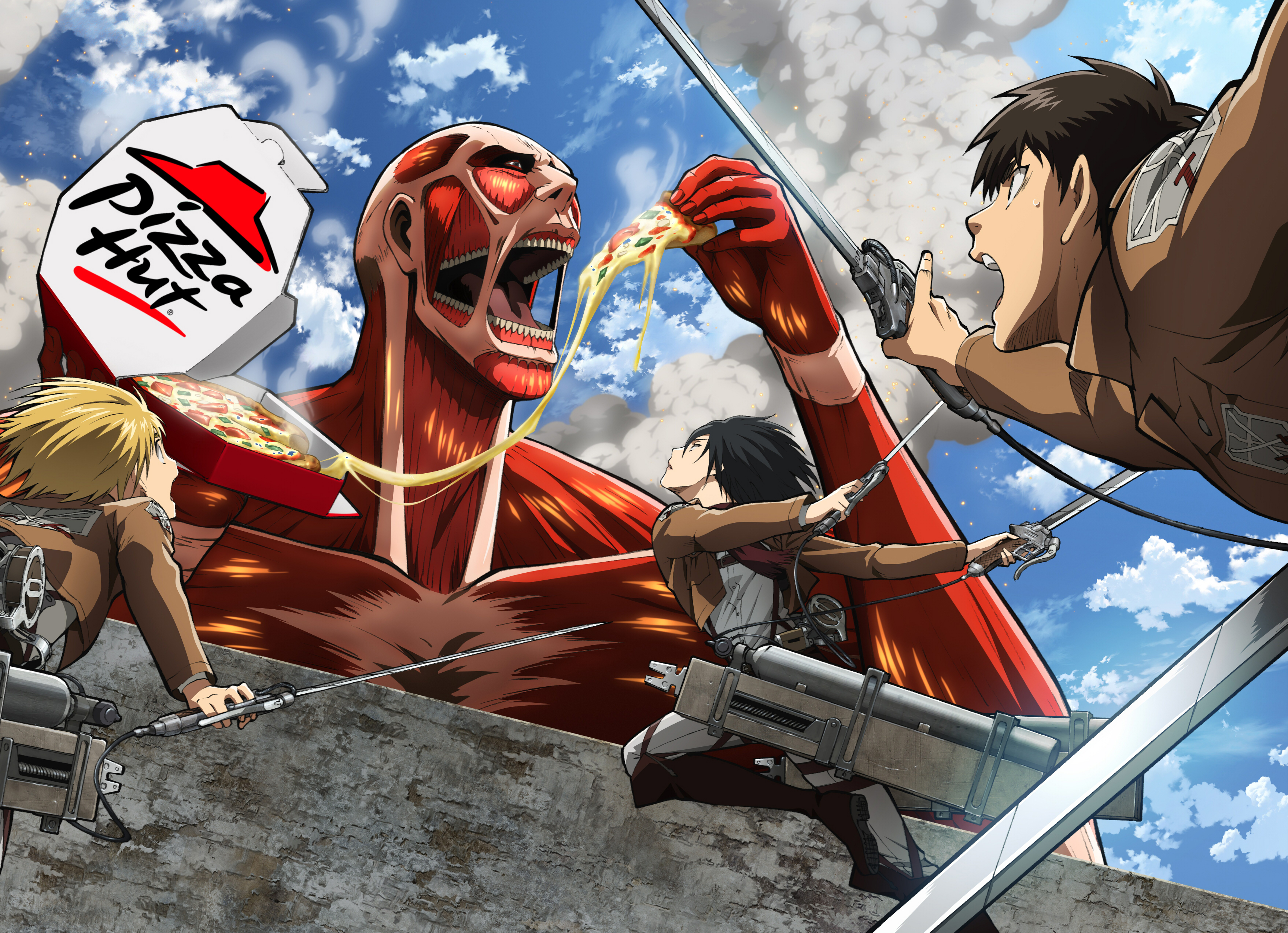 Armin Arlert Attack On Titan Eren Yeager Mikasa Ackerman Pizza Hut Shingeki No Kyojin Wallpaper Resolution 3515x2545 Id 773348 Wallha Com