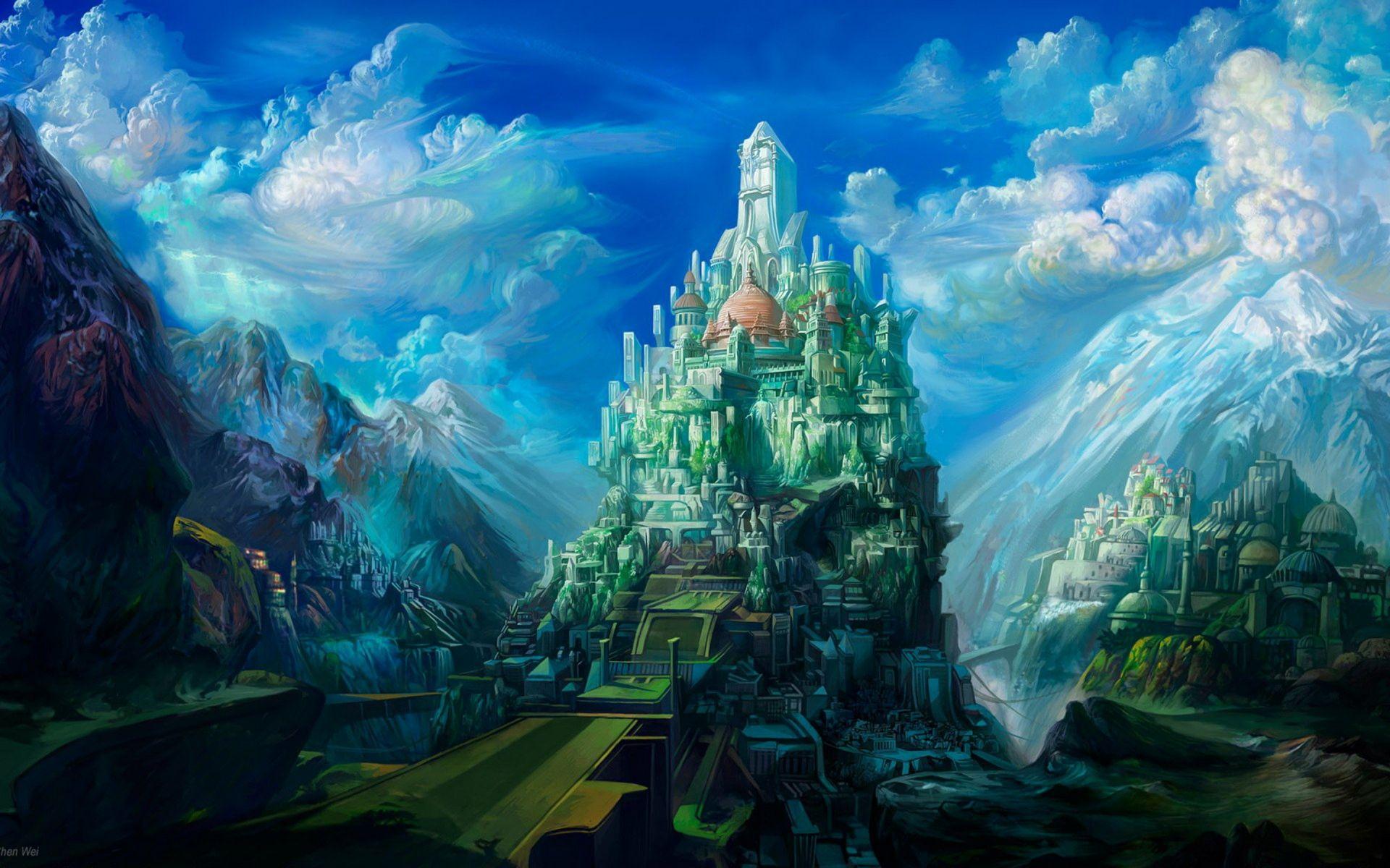 Artistic Castle City Cloud Mountain Town 1920x1200