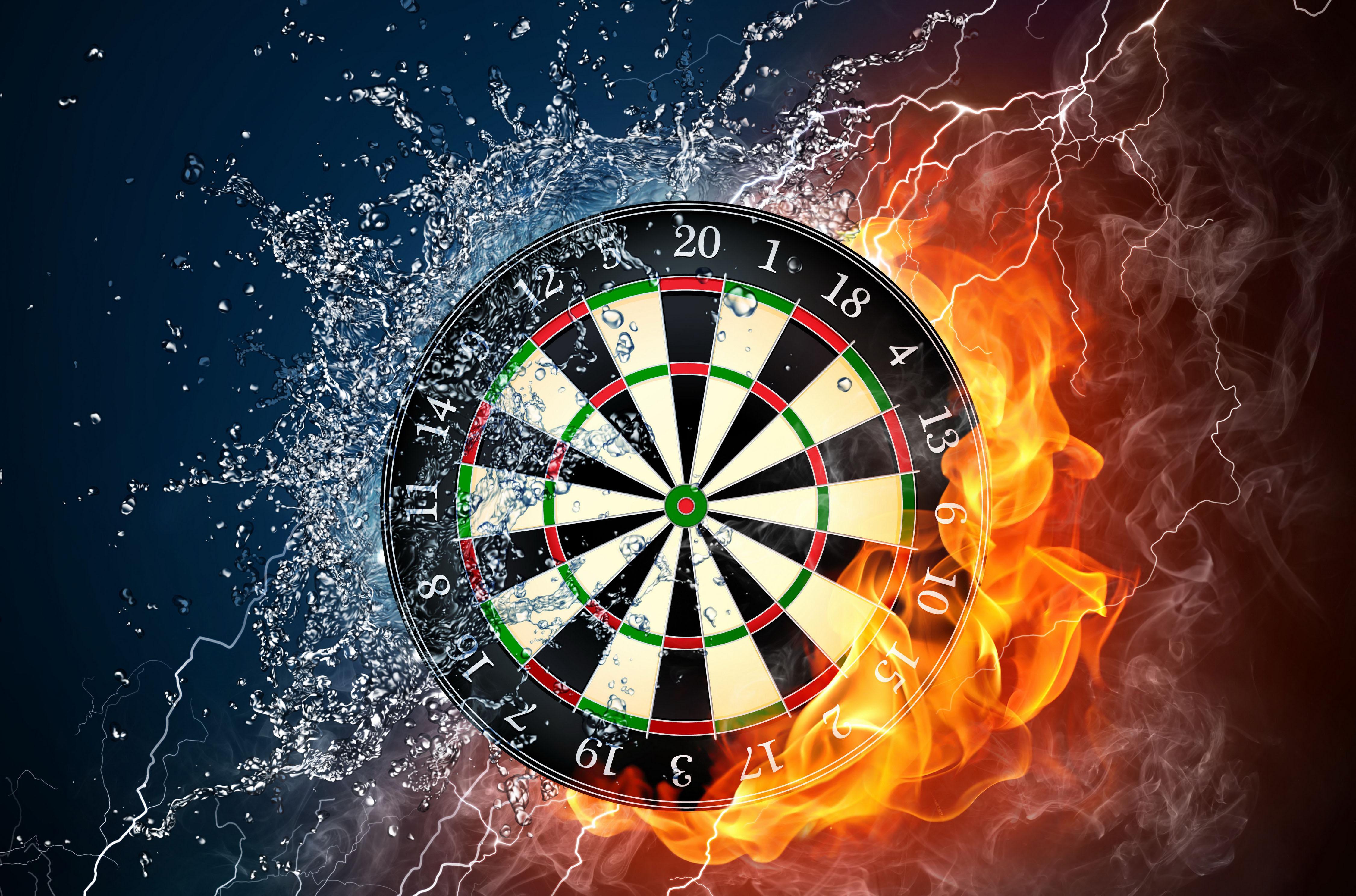 Artistic Dart Board Darts Elemental Fire Flame Water 4500x2974