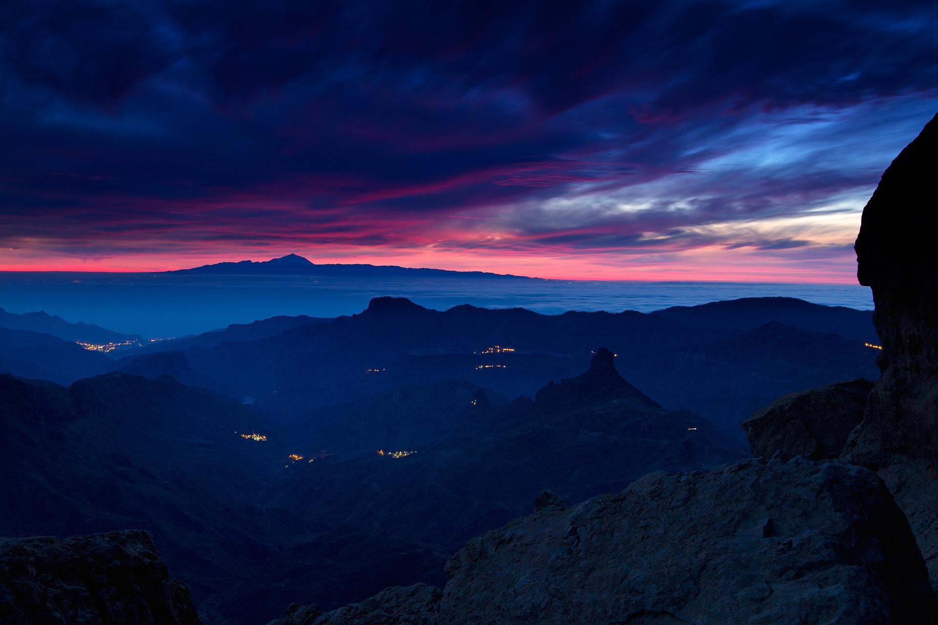 Landscape Mountain Scenic Panorama Night Light Sunset Sky Cloud 1920x1280