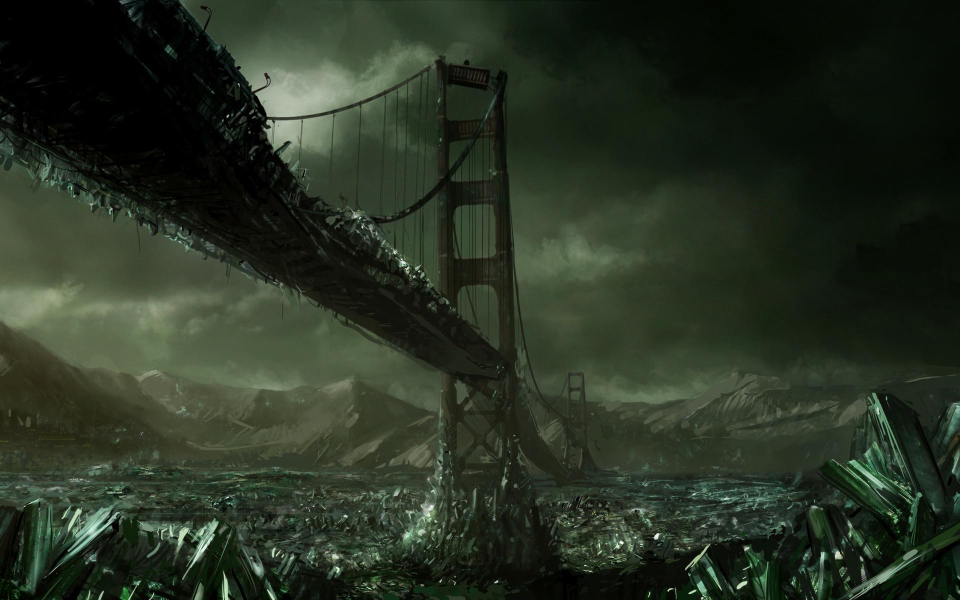 Bridge Crystal Dark Destruction Post Apocalyptic Sci Fi 1920x1200
