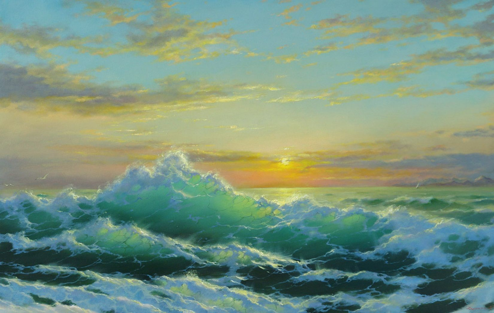 Artistic Horizon Ocean Painting Sea Sunset 1650x1048