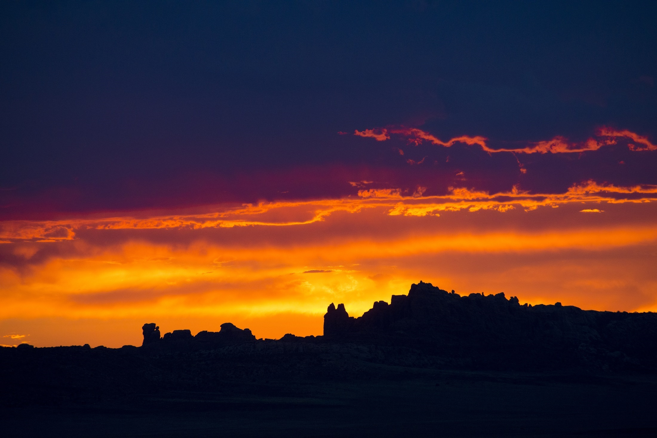 Arches National Park Dusk Earth Hill Nature Silhouette Sky Sunset Usa Utah Orange Color 2200x1468