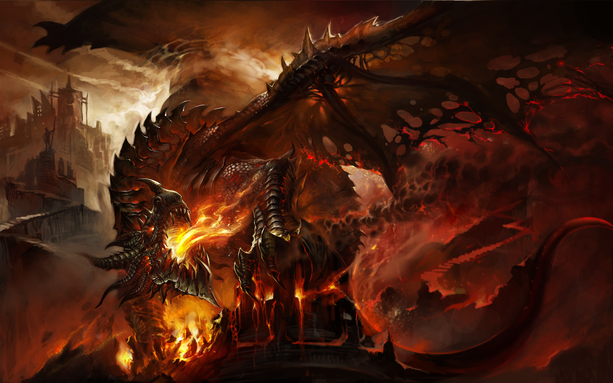 City Deathwing World Of Warcraft Dragon Fantasy Fire 2560x1600