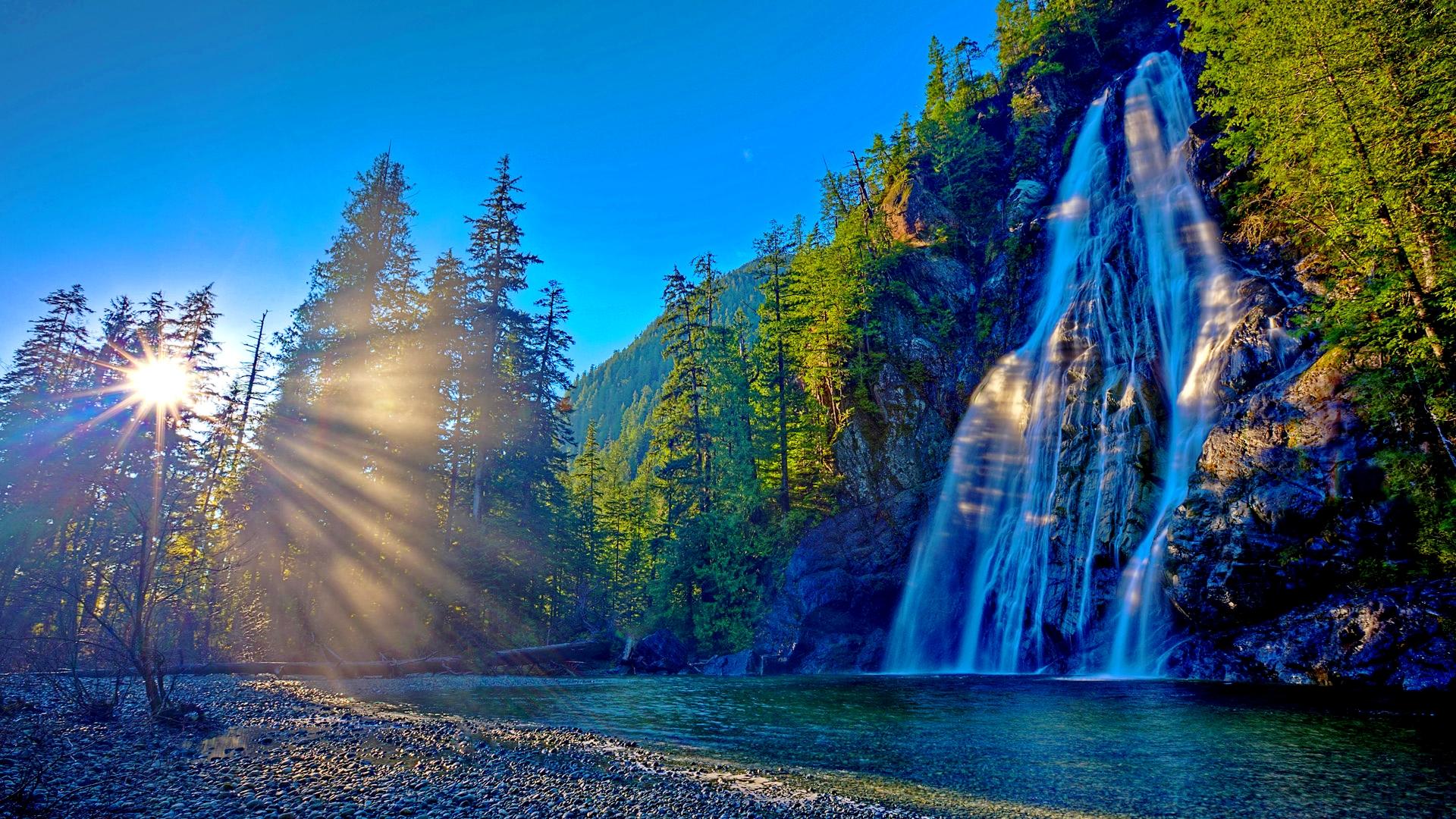 Earth Sun Sunrise Sunshine Waterfall 1920x1080