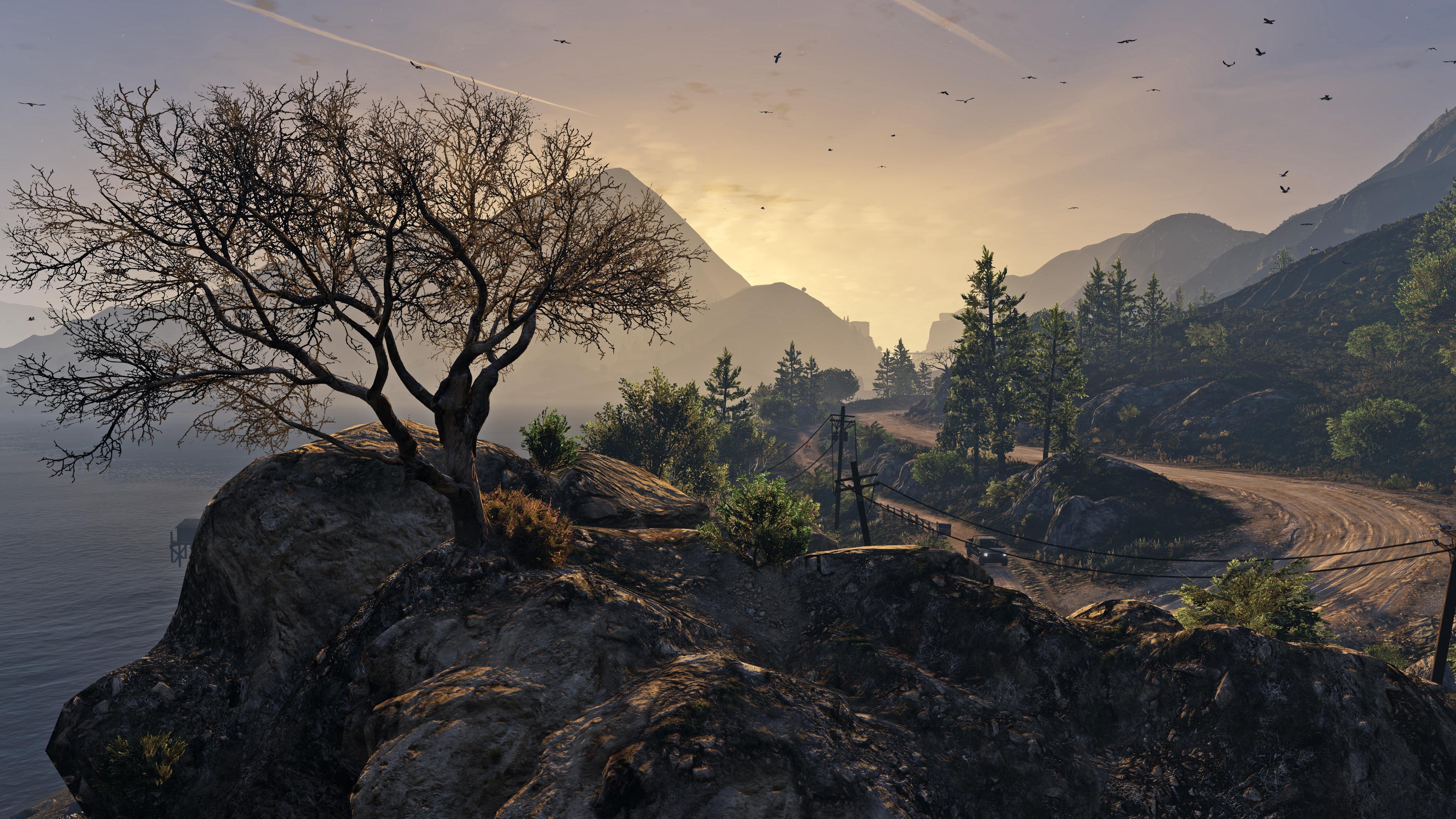 Grand Theft Auto V Mountain Road Rock Tree 3840x2160