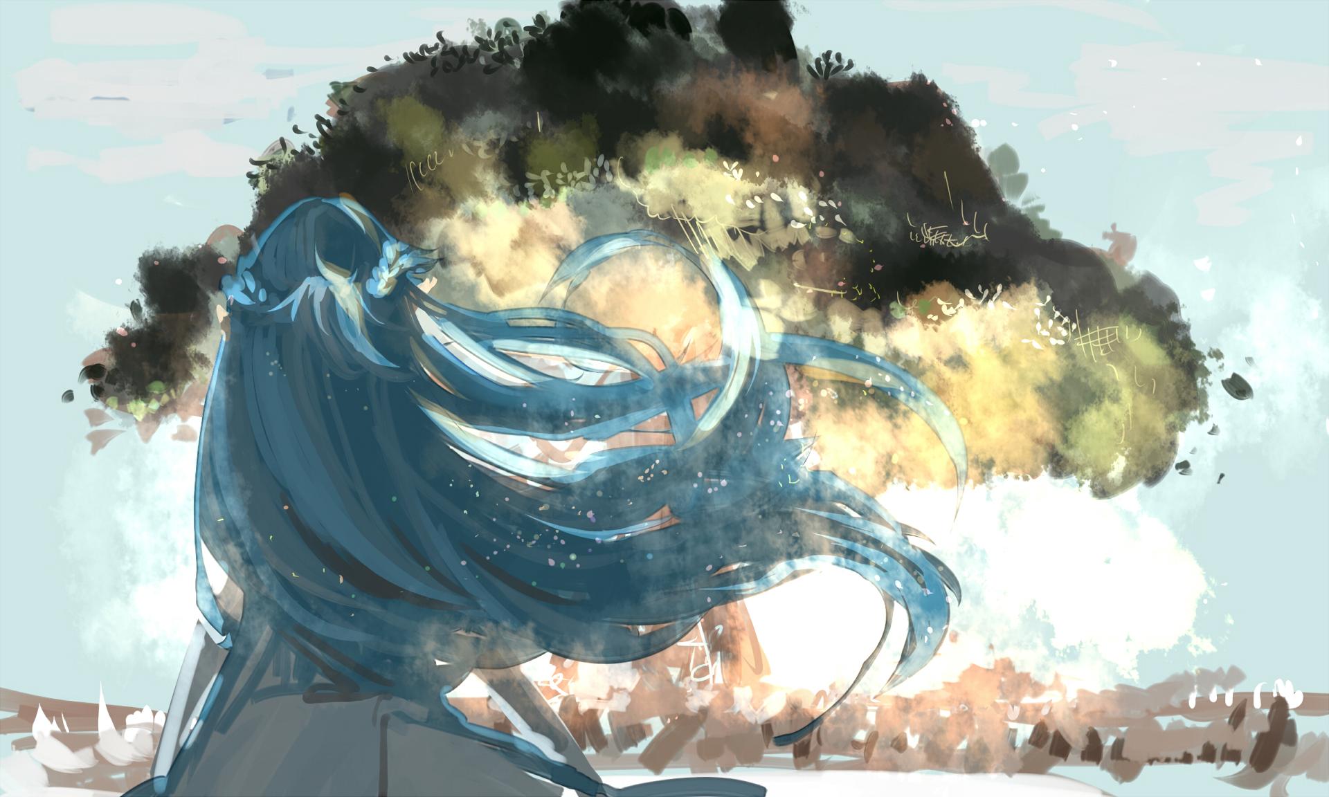 Blue Hair Girl Long Hair Sword Art Online Tree 1920x1152