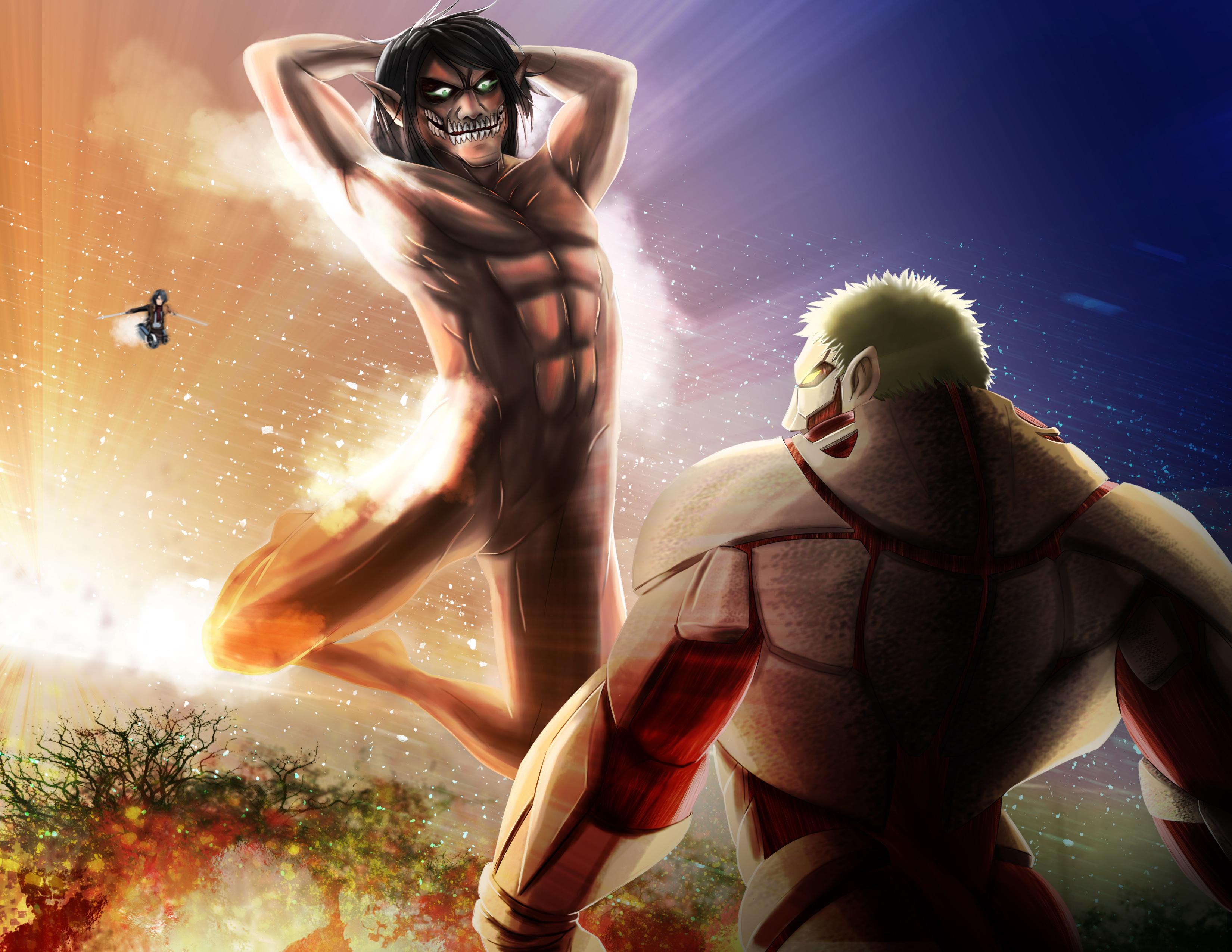 Attack On Titan Eren Yeager Mikasa Ackerman Reiner Braun Shingeki No Kyojin Wallpaper Resolution 3300x2550 Id 889885 Wallha Com