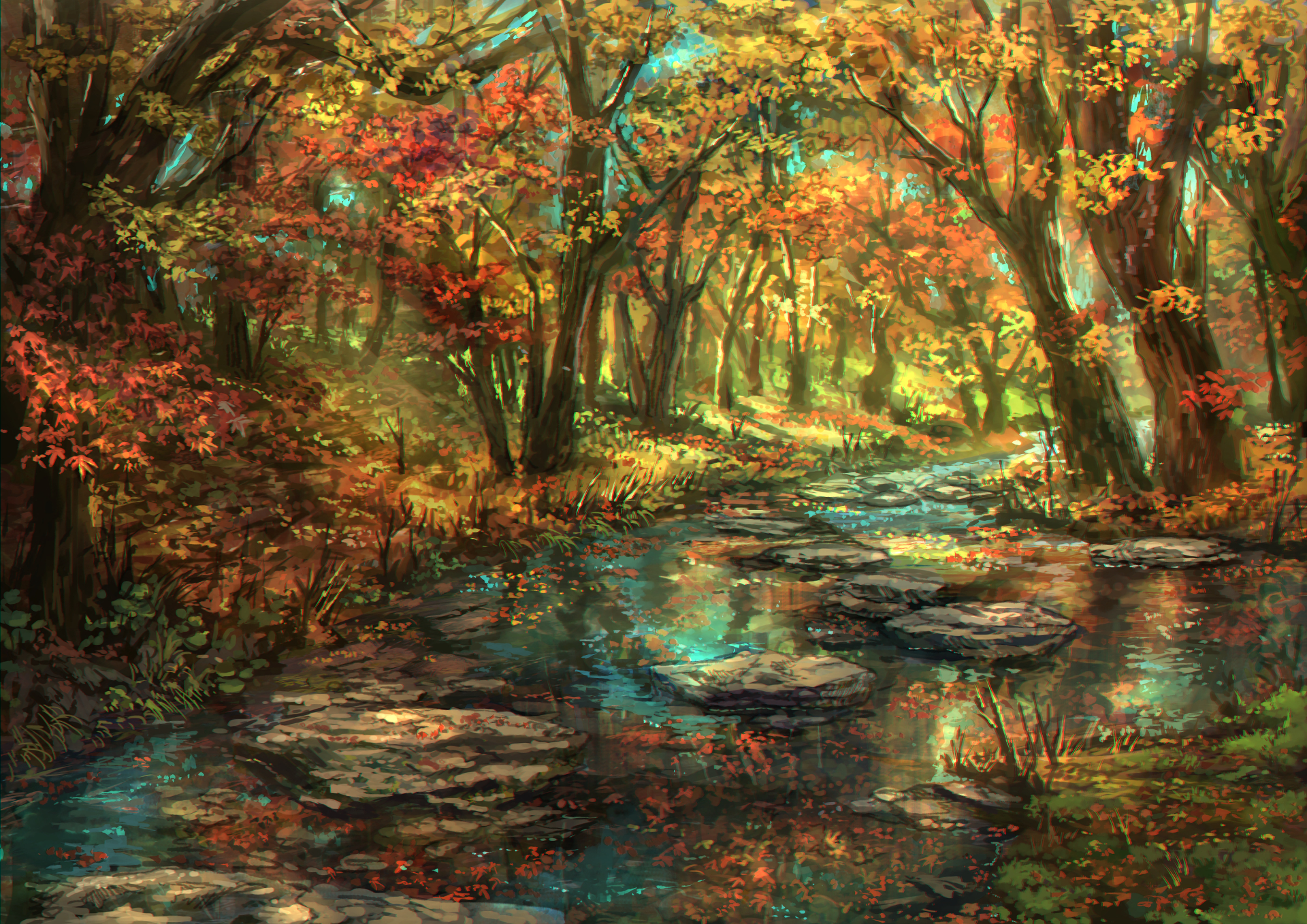 Artistic Fall Foliage Forest Leaf Nature Original Anime River Tree 1920x1357
